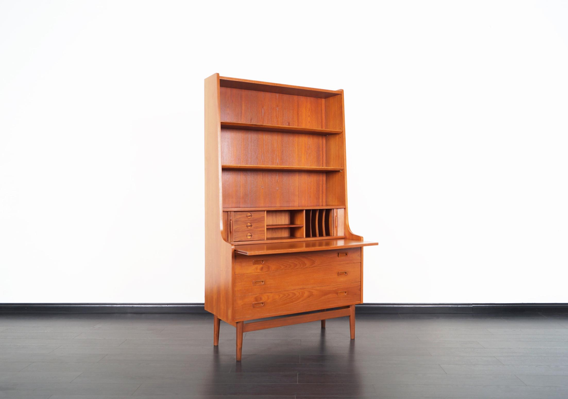 Danish Teak Secretary Desk and Bookcase by Johannes Sorth