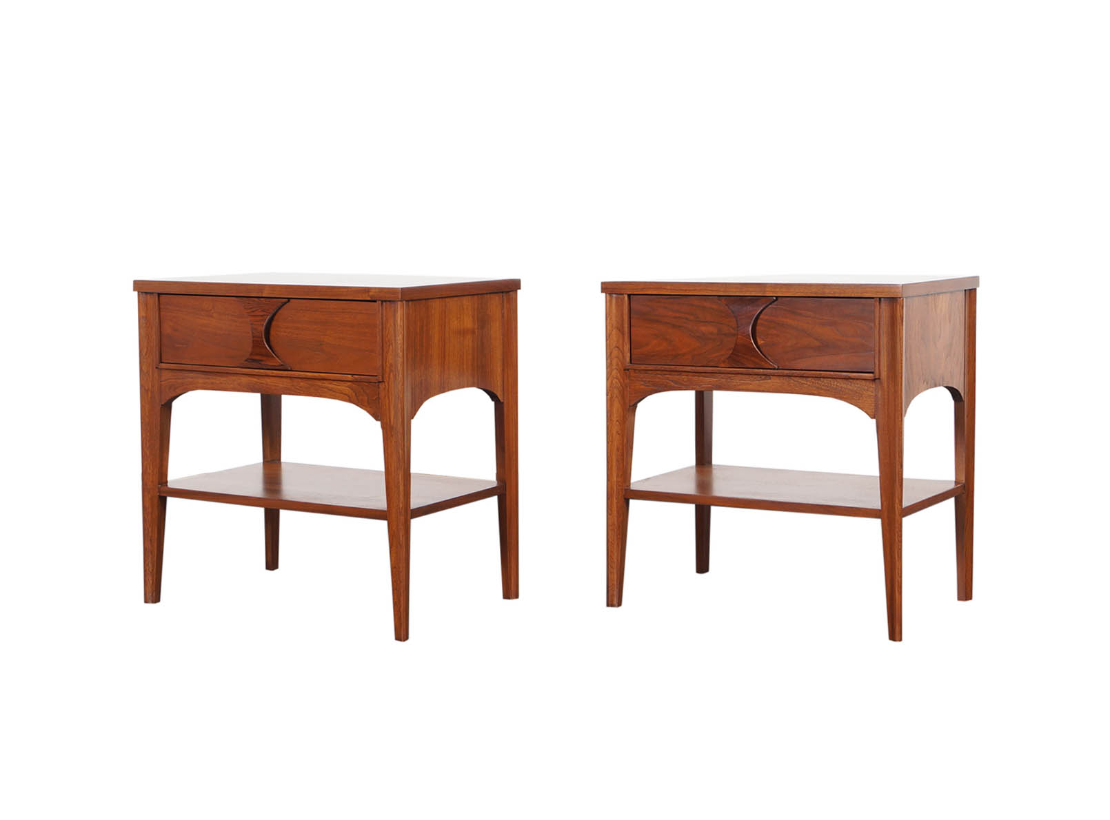 Mid Century Walnut Perspecta Nightstands by Kent Coffey