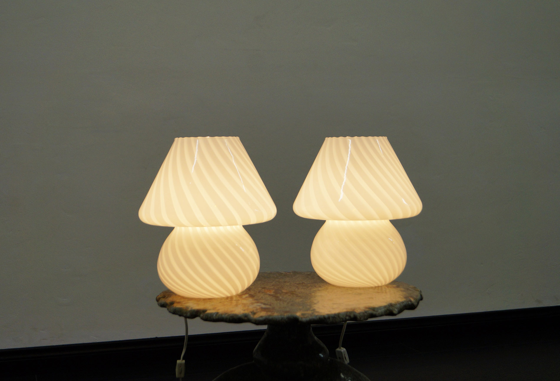 Vintage Murano Glass Mushroom Lamps by Vetri