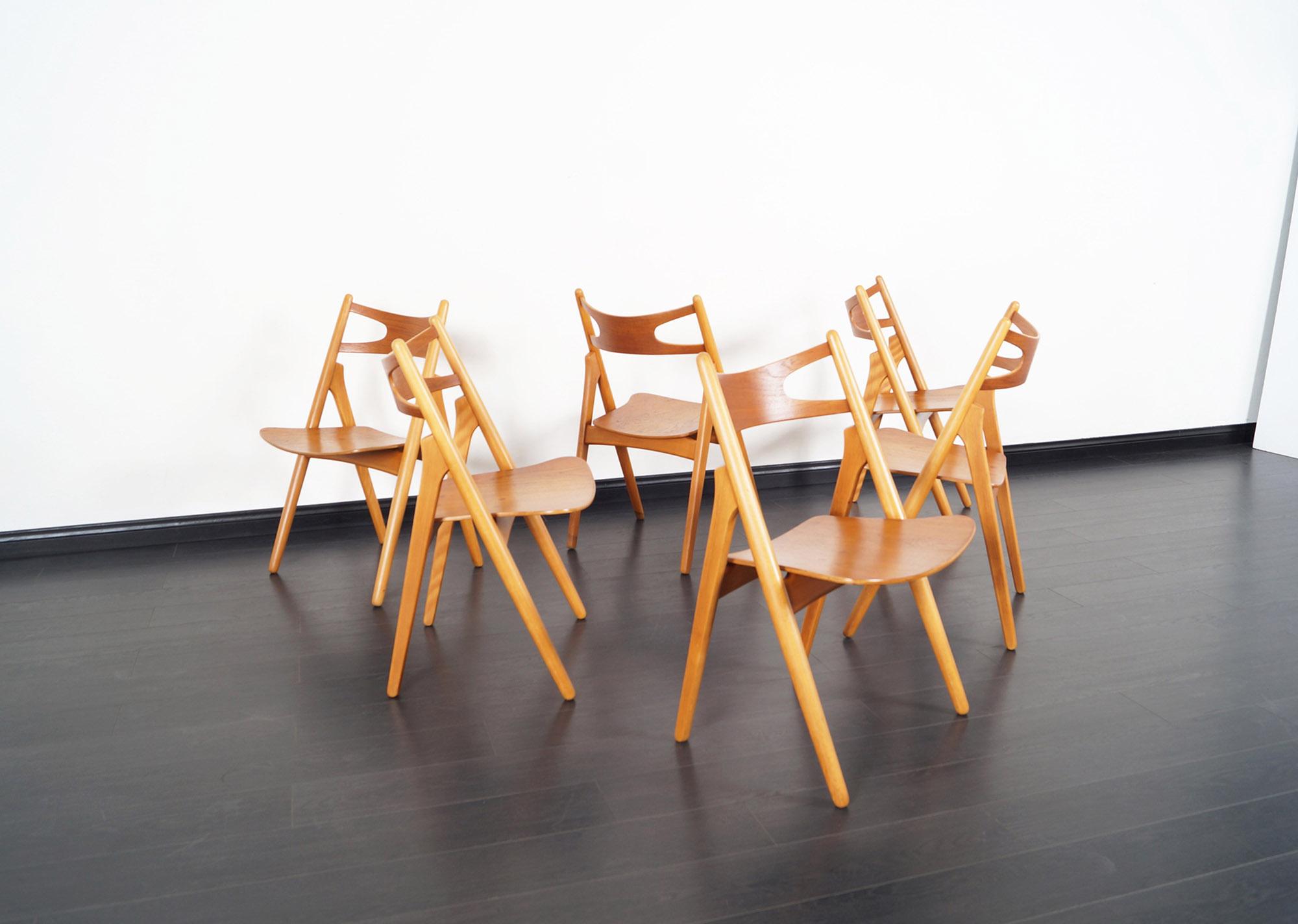 Danish Modern Sawbuck CH-29 Dining Chairs by Hans J. Wegner