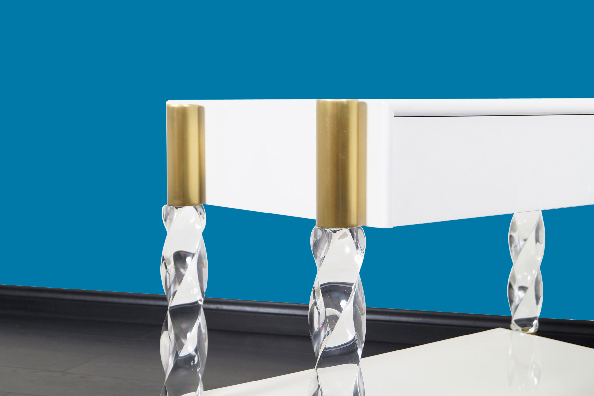 Exceptional Lucite and Brass Nightstands