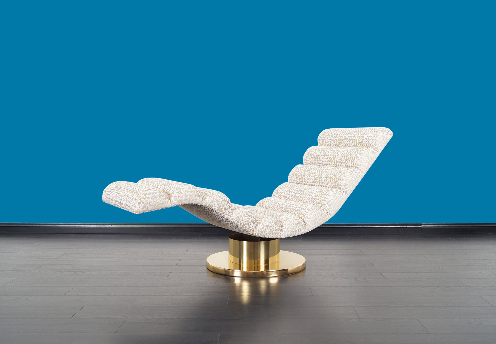 Vintage Brass Swivel Wave Chaise Lounge by Milo Baughman