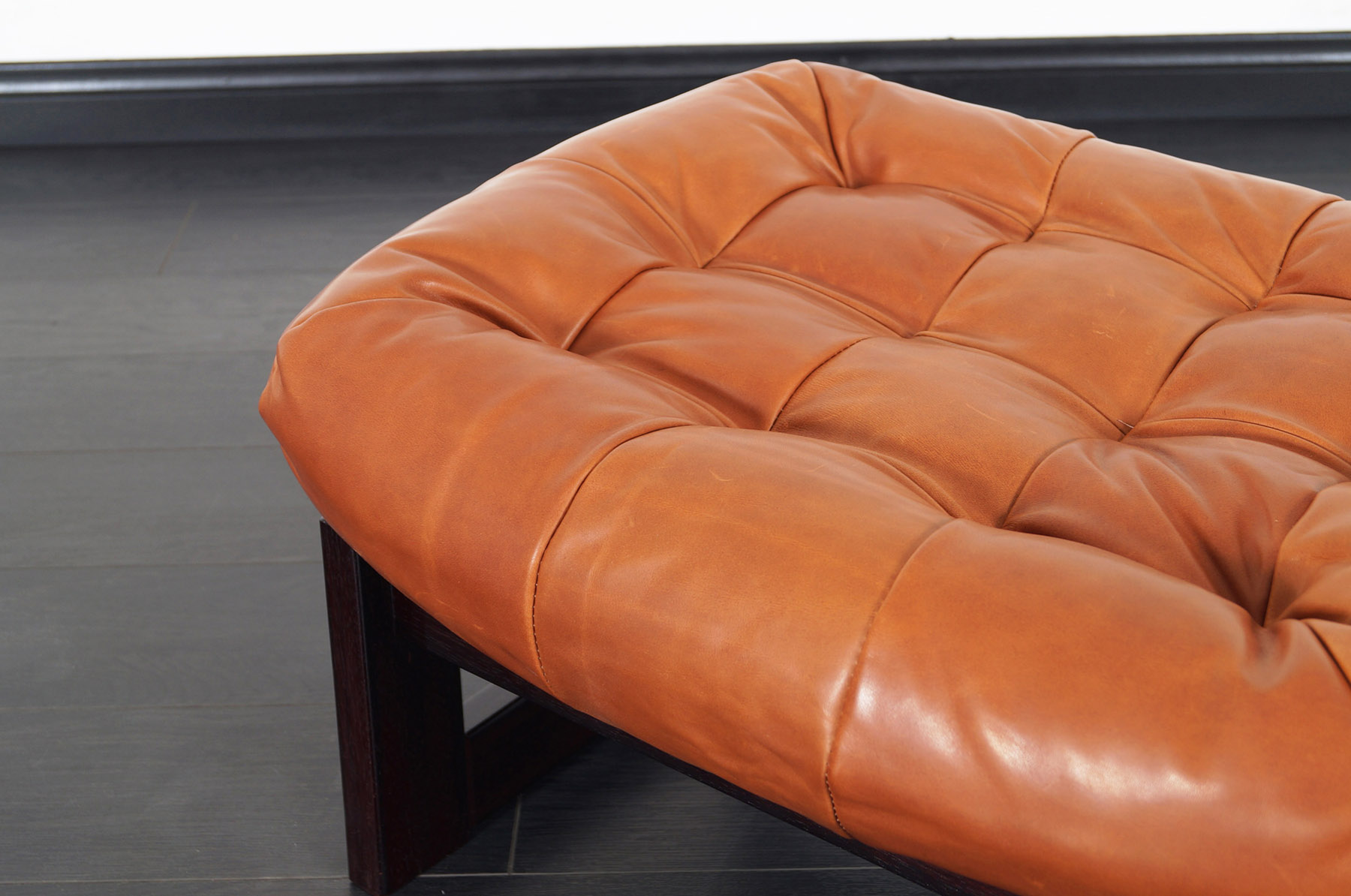 Brazilian Leather Lounge Chair and Ottoman by Percival Lafer
