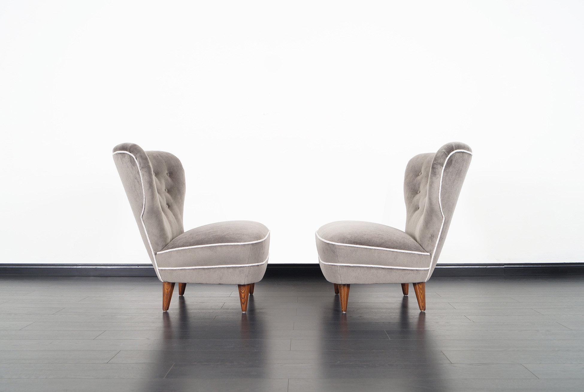 Vintage Tufted Wingback Lounge Chairs