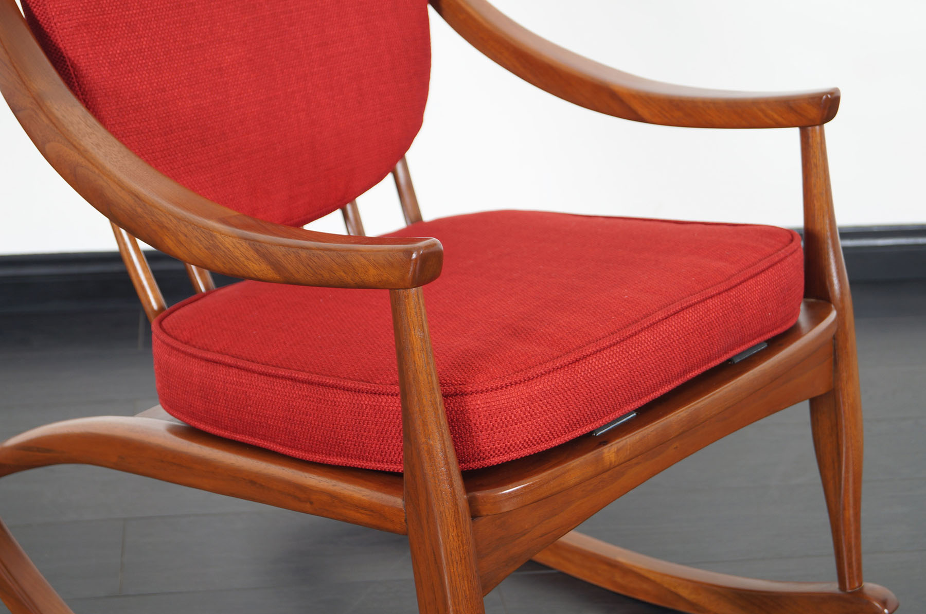 Mid Century Modern Walnut Rocking Chair