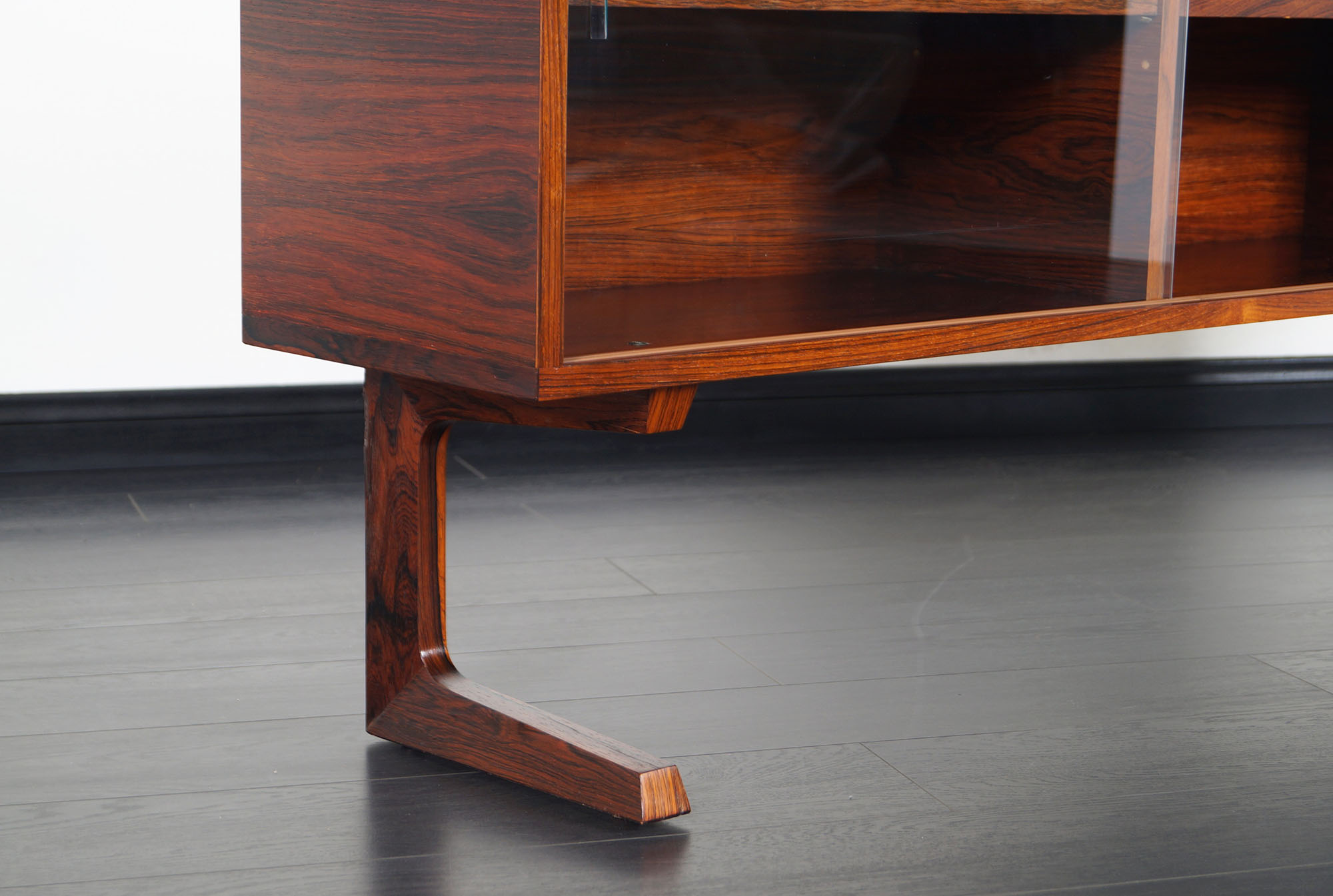 Danish Modern Low Profile Rosewood Bookcase
