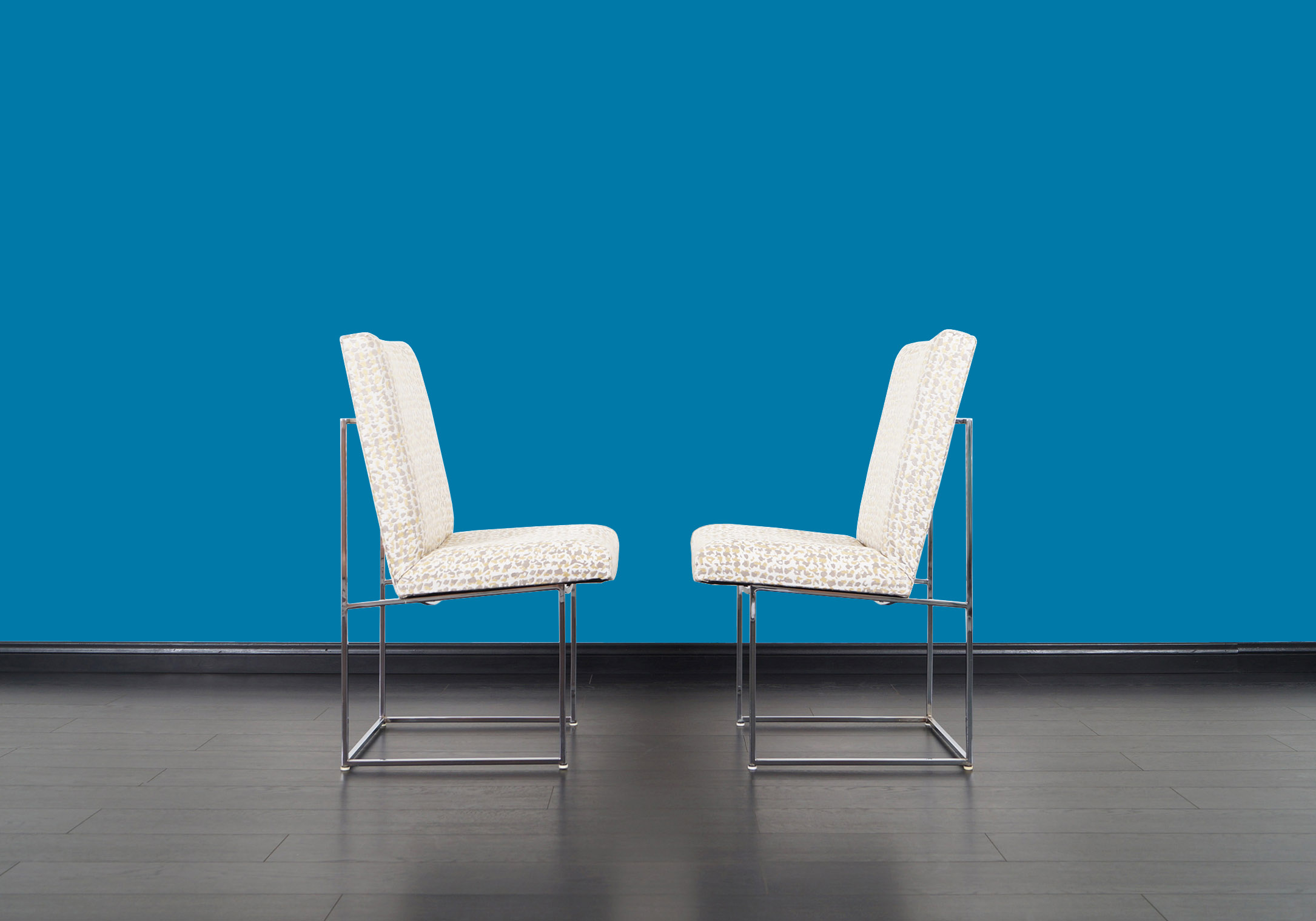 Vintage Chrome Thin Line Dining Chairs by Milo Baughman