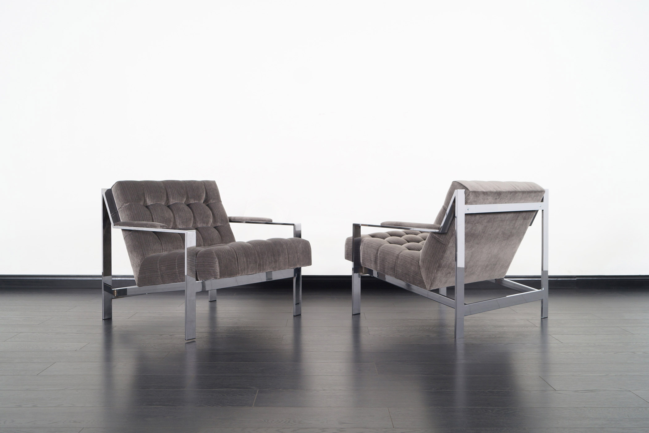 Vintage Chrome Biscuit Tufted Lounge Chairs by Cy Mann