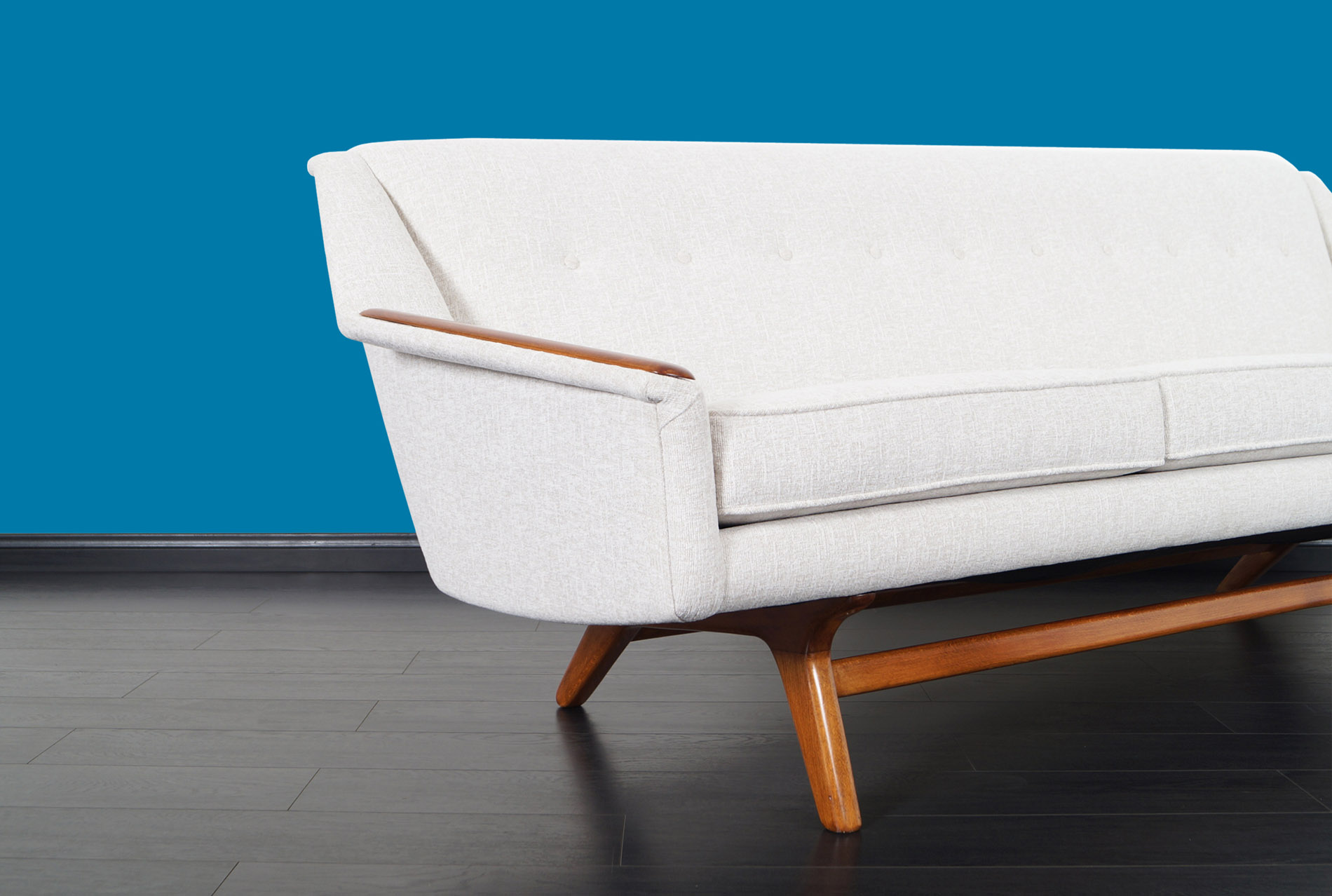 Danish Modern Walnut Wing Sofa