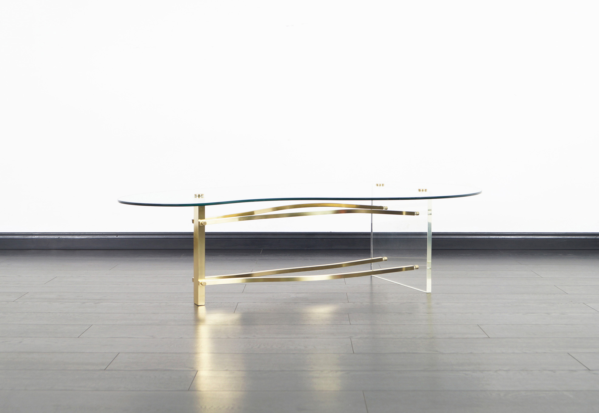 Vintage Brass and Lucite Kidney Shaped Coffee Table