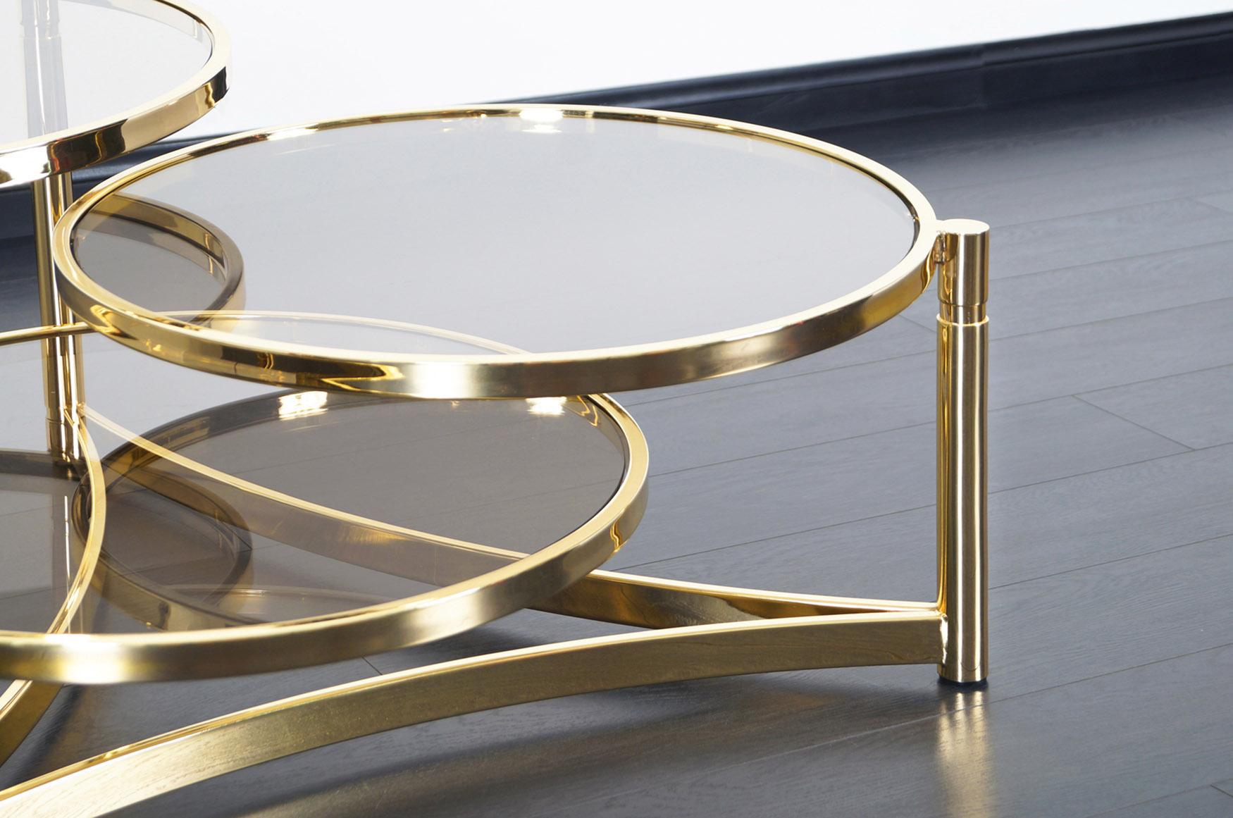 Vintage Brass Tri Level Swivel Coffee Table by Milo Baughman