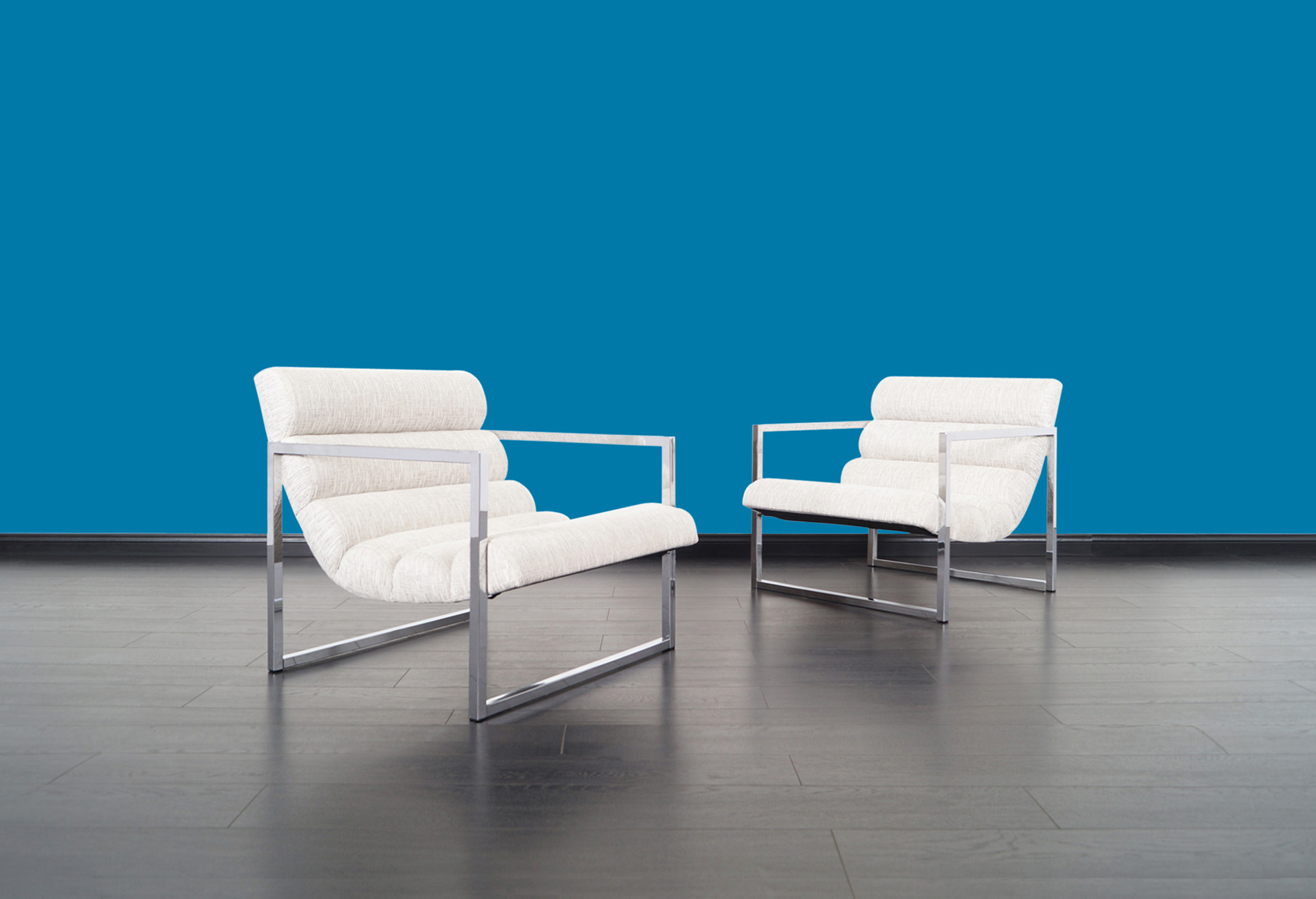 Vintage Chrome Scoop Lounge Chairs Attributed to Milo Baughman