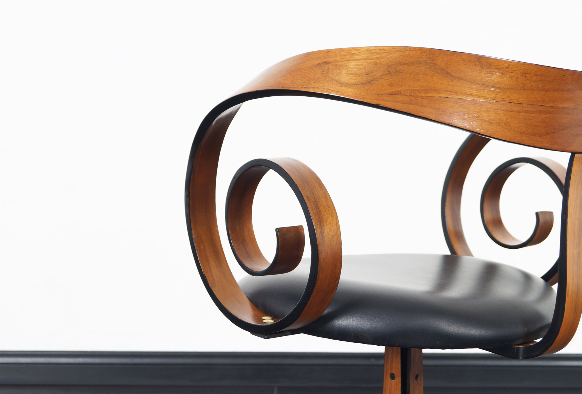 Vintage Walnut Scroll Swivel Armchairs by George Mulhauser for Plycraft
