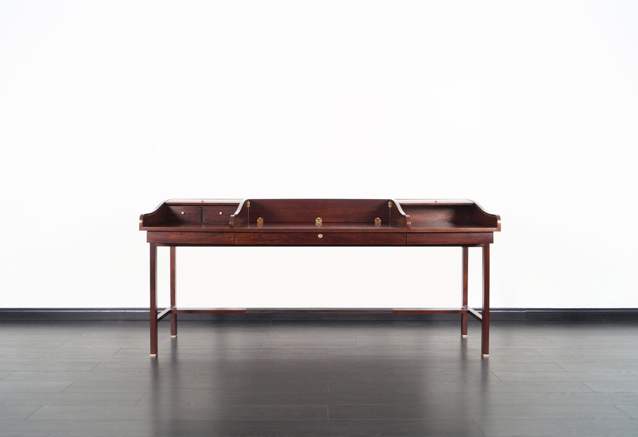 Executive Rosewood Tambour Doors Desk Model #452 by Edward J. Wormley