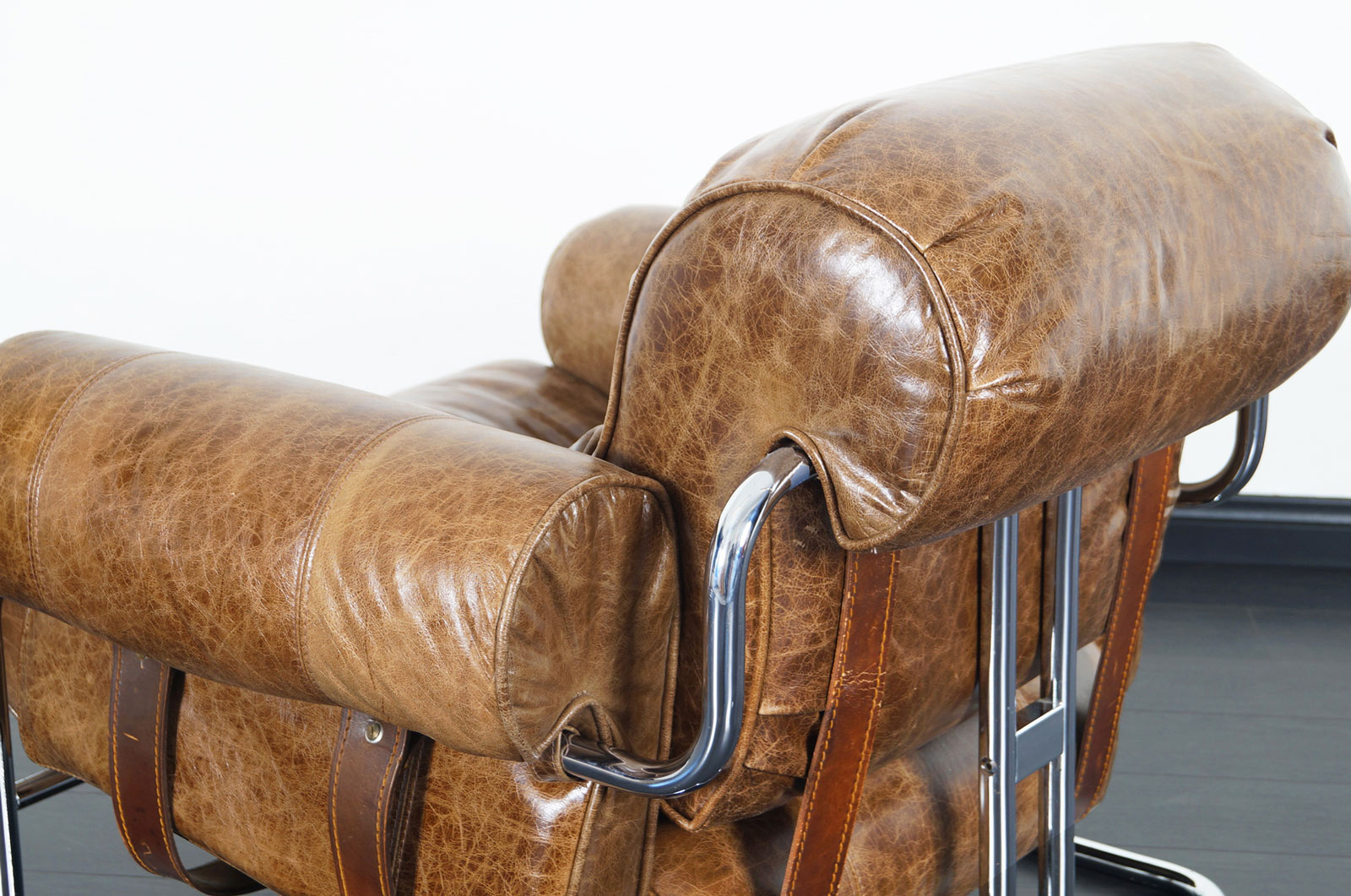 Italian Leather Tucroma Lounge Chair and Ottoman by Guido Faleschini