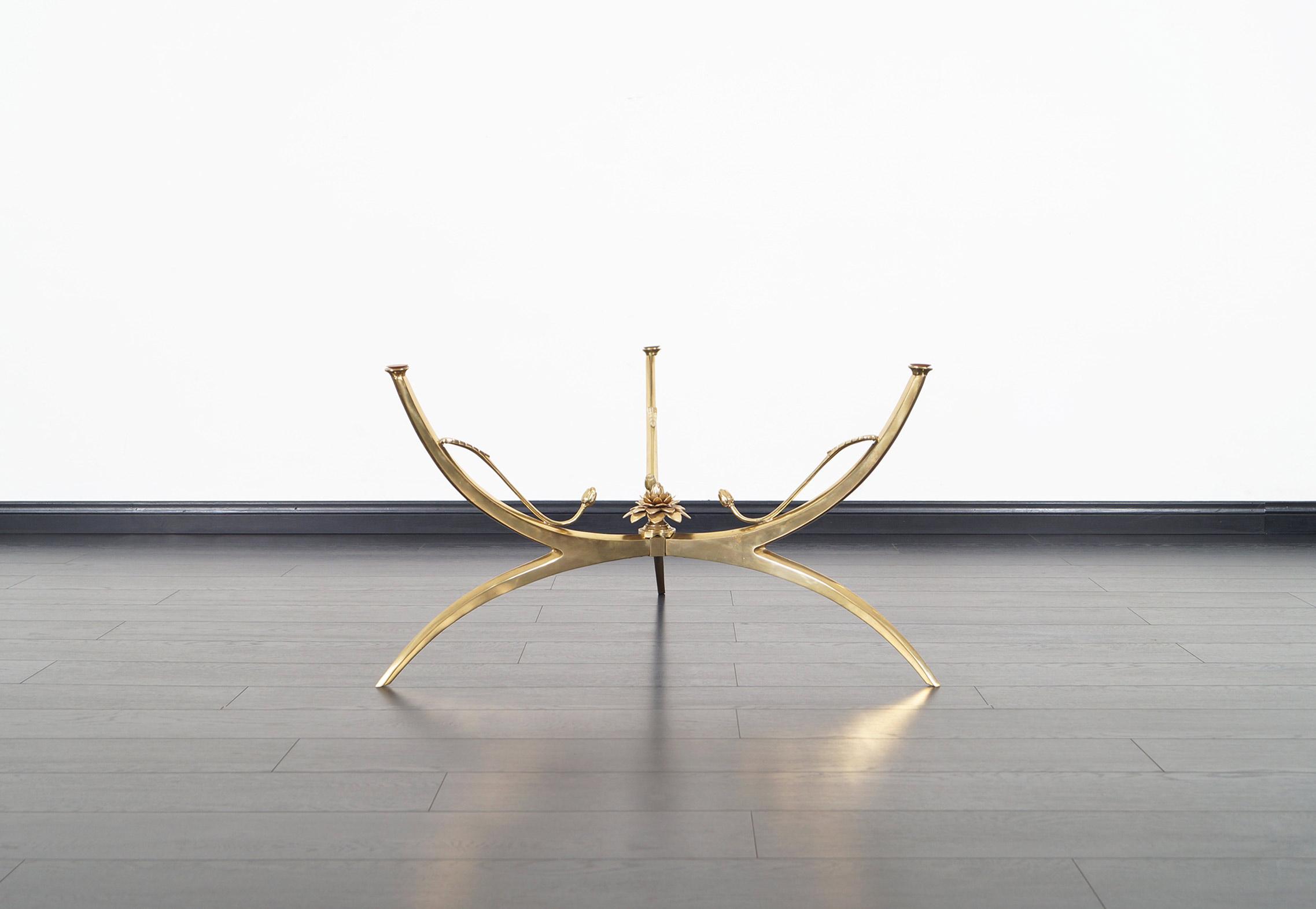 Italian Brass Lotus Coffee Table