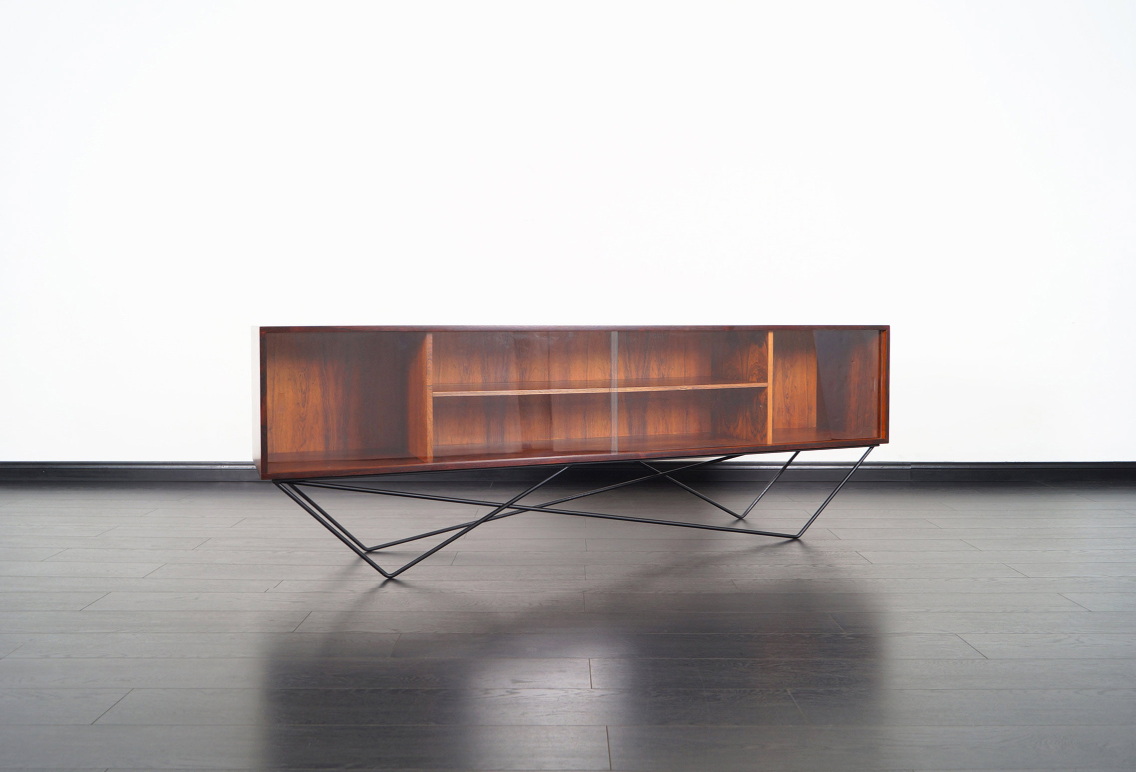 Architectural Danish Low Profile Rosewood Bookcase