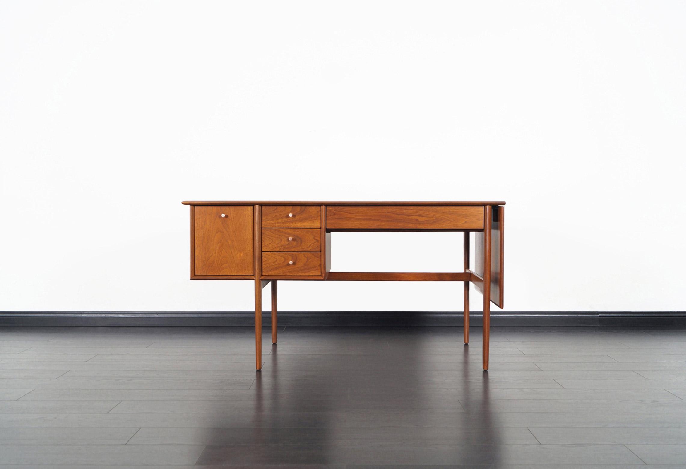 Drexel Walnut Parallel Writing Desk by Barney Flagg