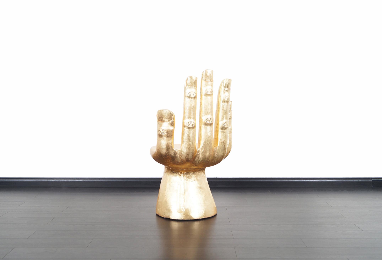 Vintage Sculptural Gold Leaf Hand Chair After Pedro Friedeberg