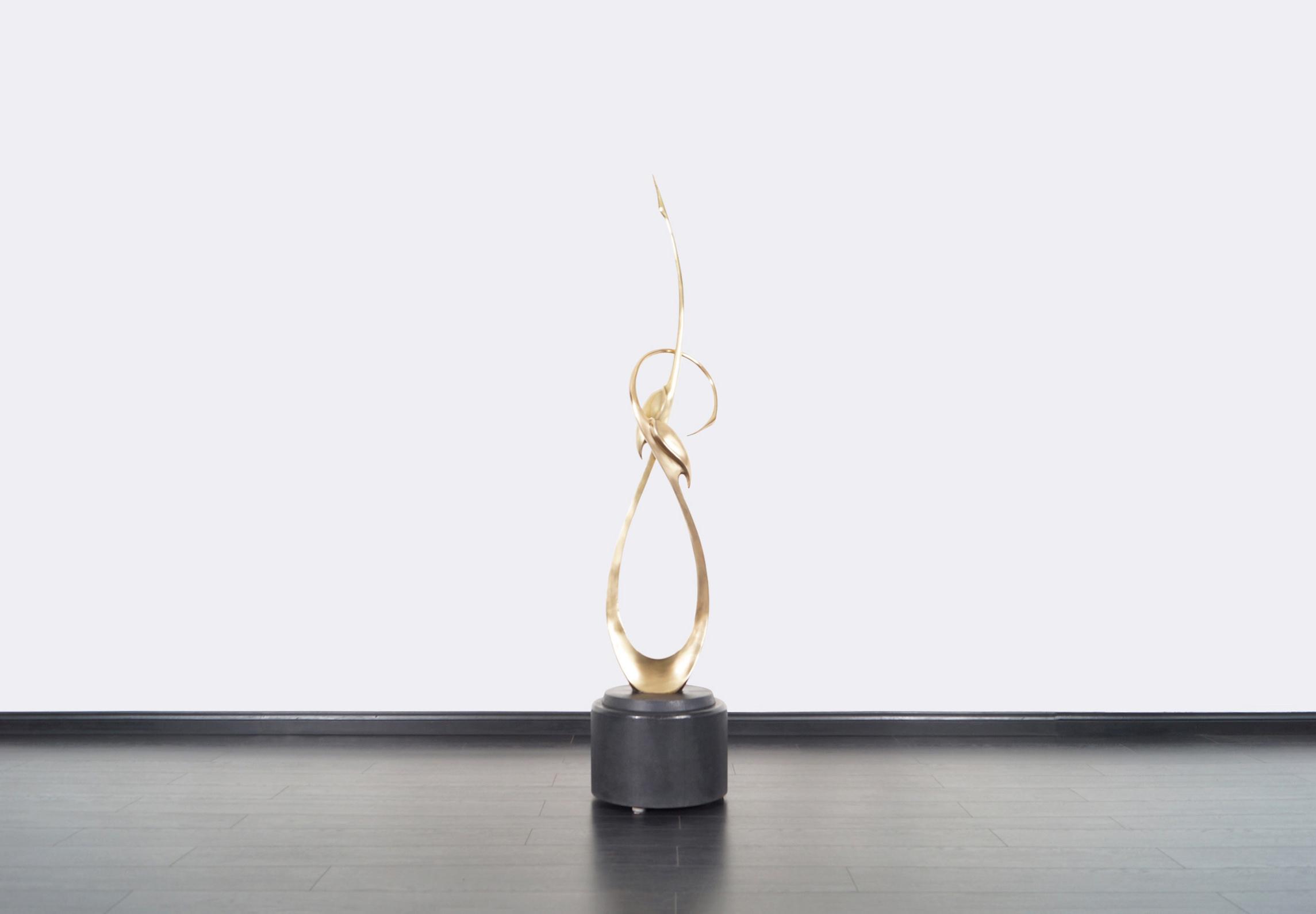 Vintage Life-Size Brass Entwined Cranes Sculpture by Boris Lovet-Lorski