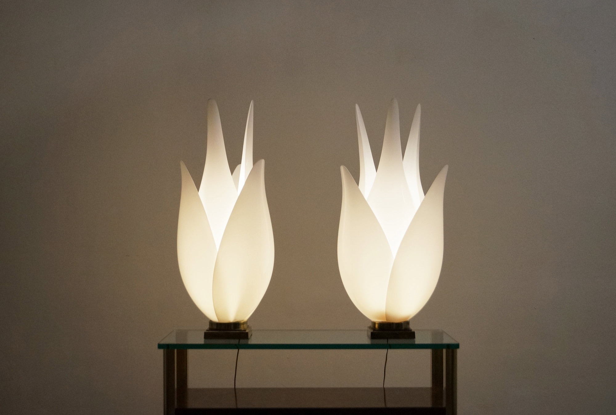Vintage Oversized Tulip Lamps by Roger Rougier
