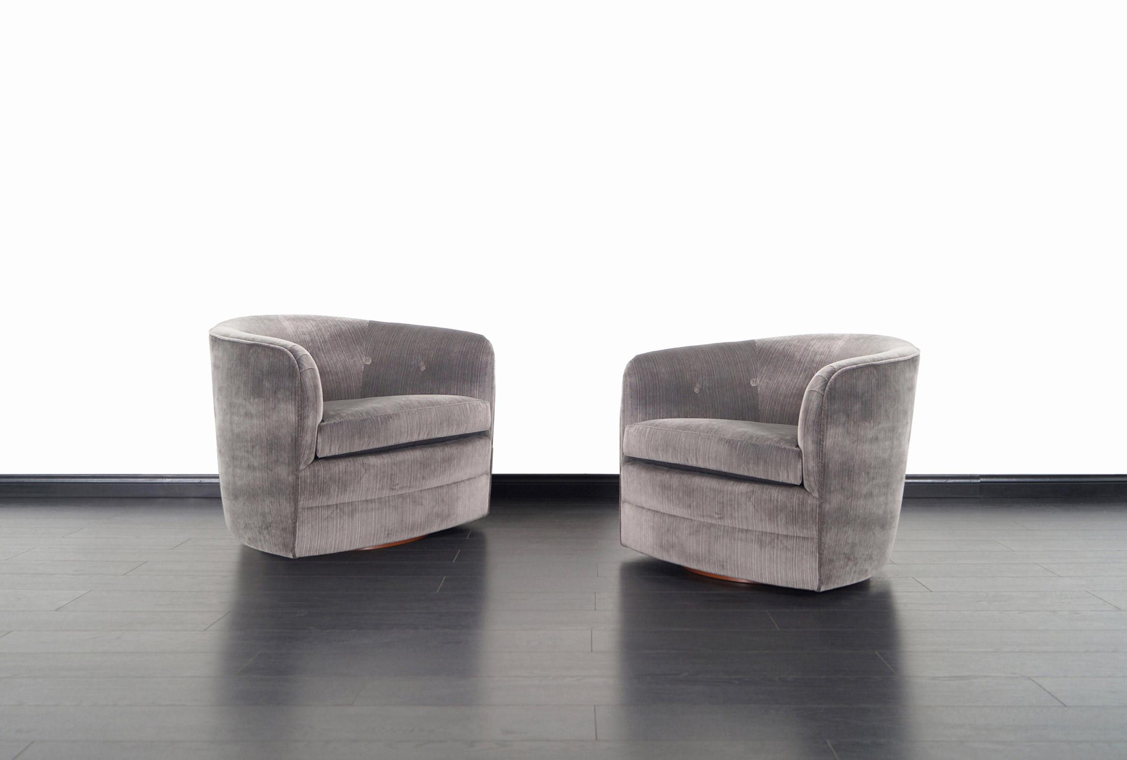 Vintage Walnut Swivel Lounge Chairs by Milo Baughman