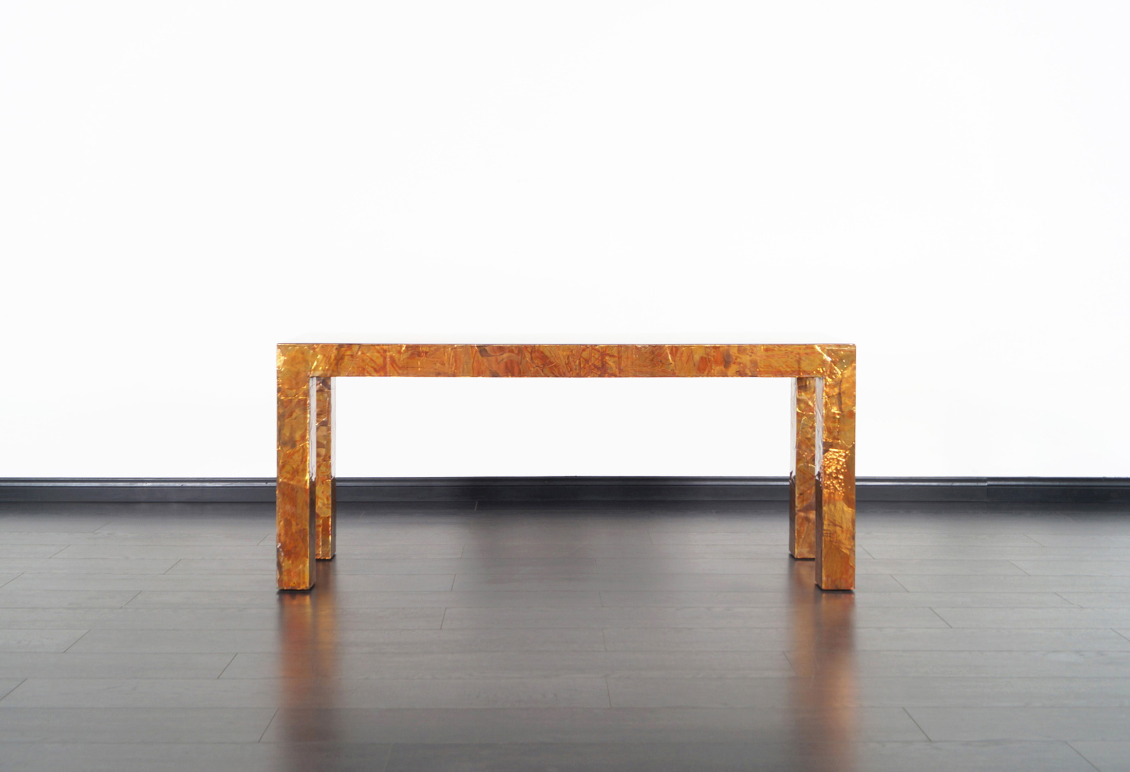 Brutalist Copper Patchwork Console Table