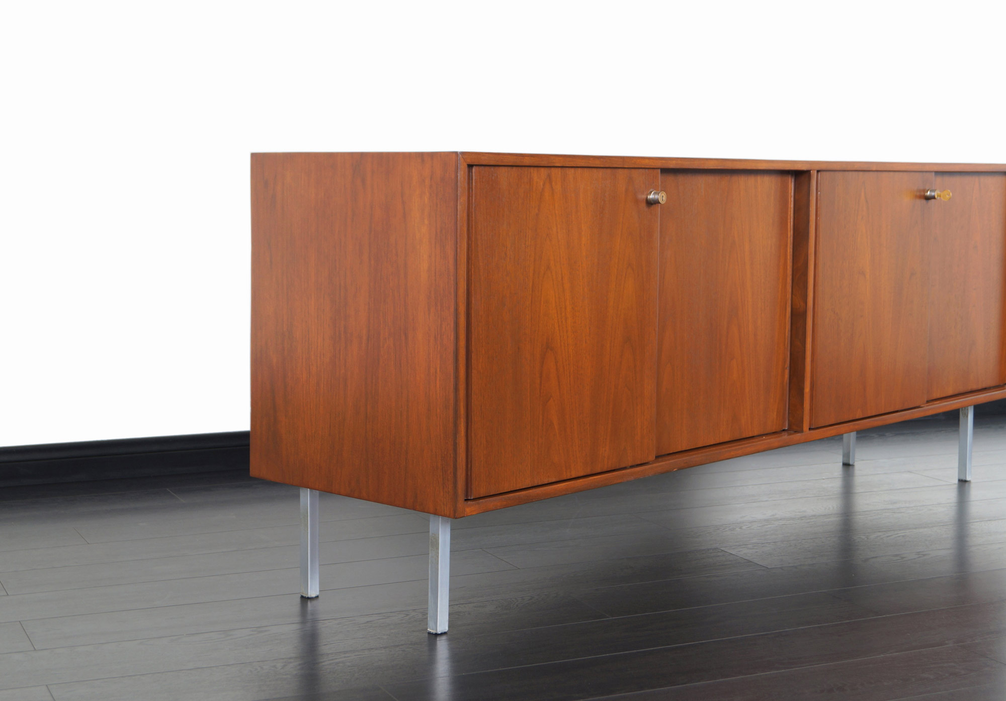 Vintage Walnut Credenza in the Manner of Florence Knoll