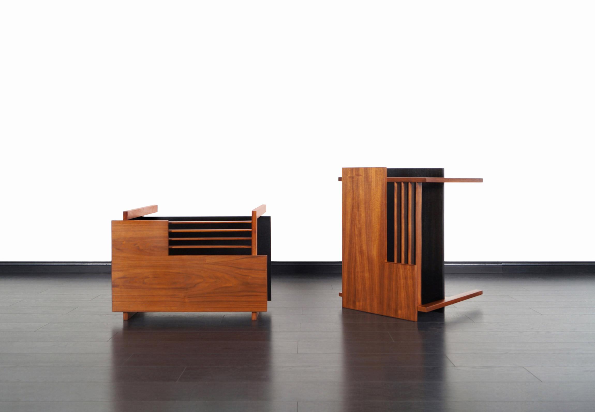 Vintage Two-Tiered Walnut Side Tables by Greta M. Grossman