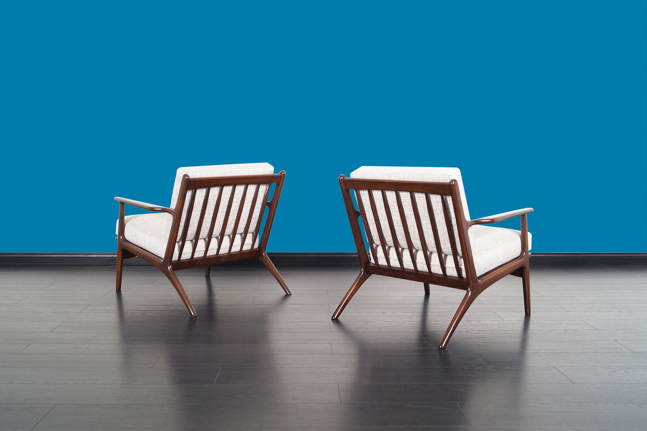Mid Century Italian Walnut Lounge Chairs