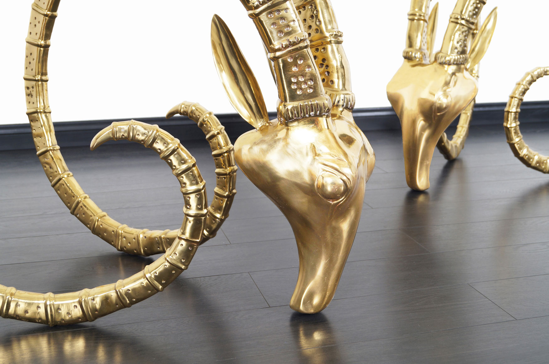 Exceptional Brass Ibex Rams Head Sculptures in the style of Alain Chervet