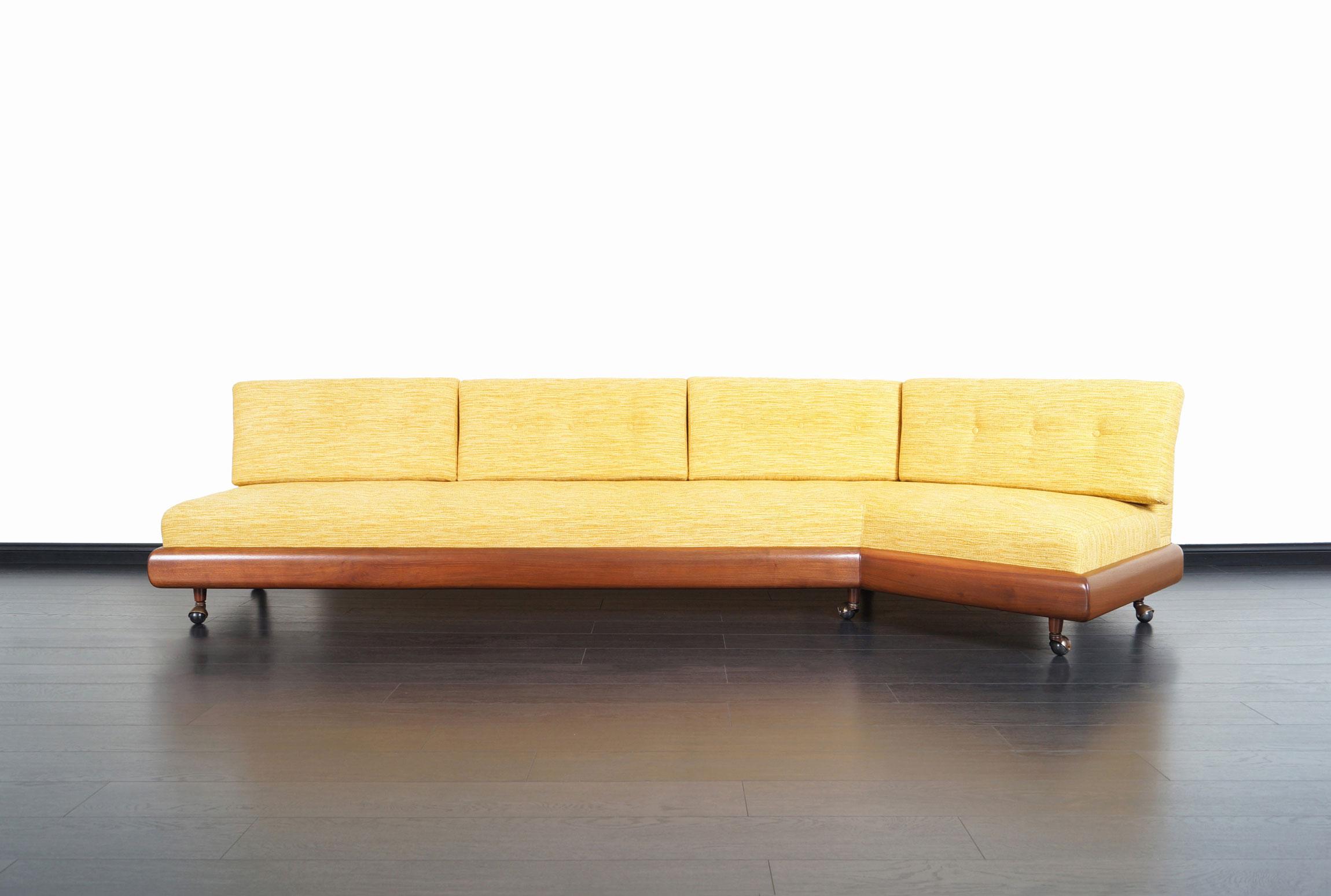 Vintage Walnut Boomerang Sofa by Adrian Pearsall