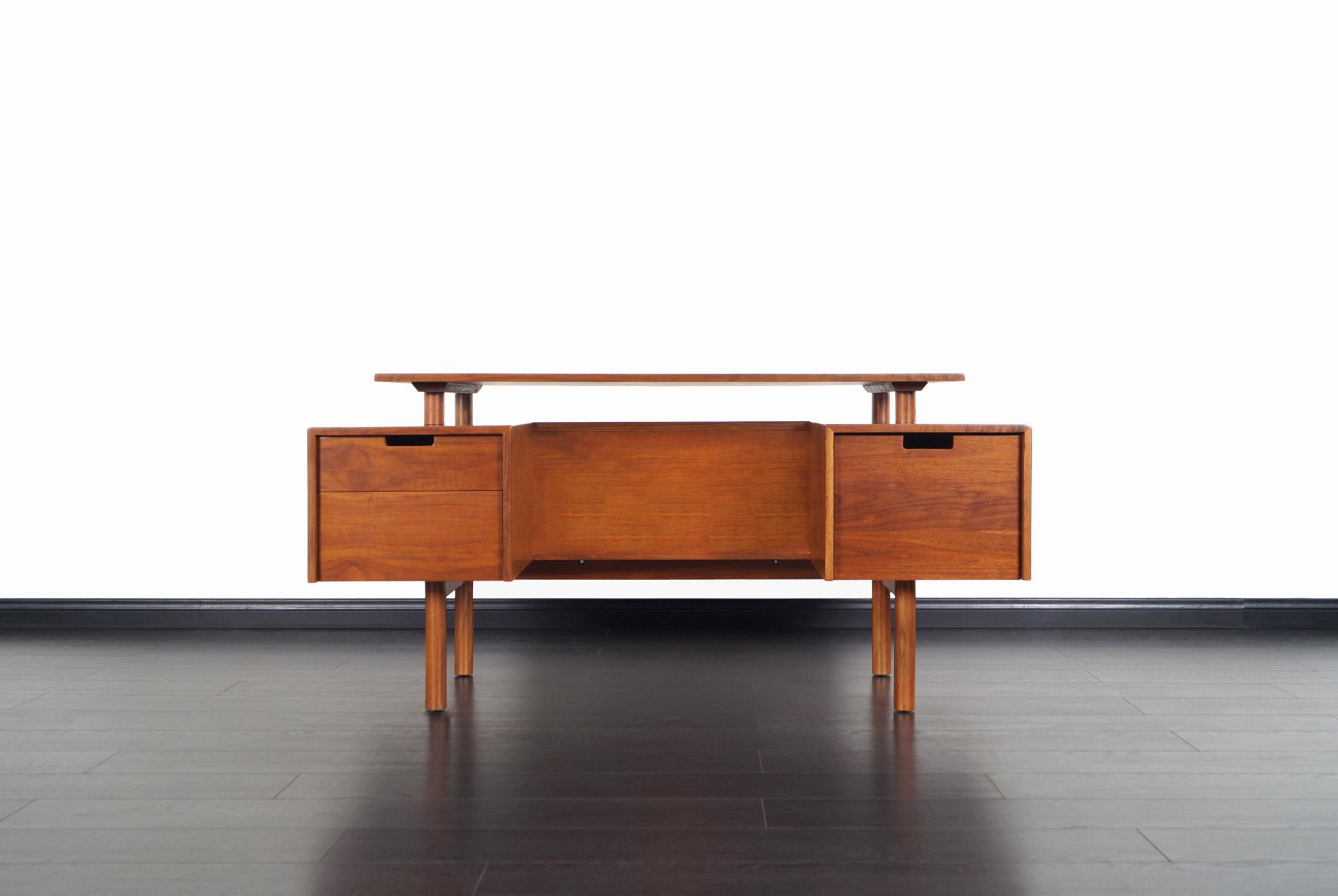 Early Floating Top Walnut Desk by Milo Baughman