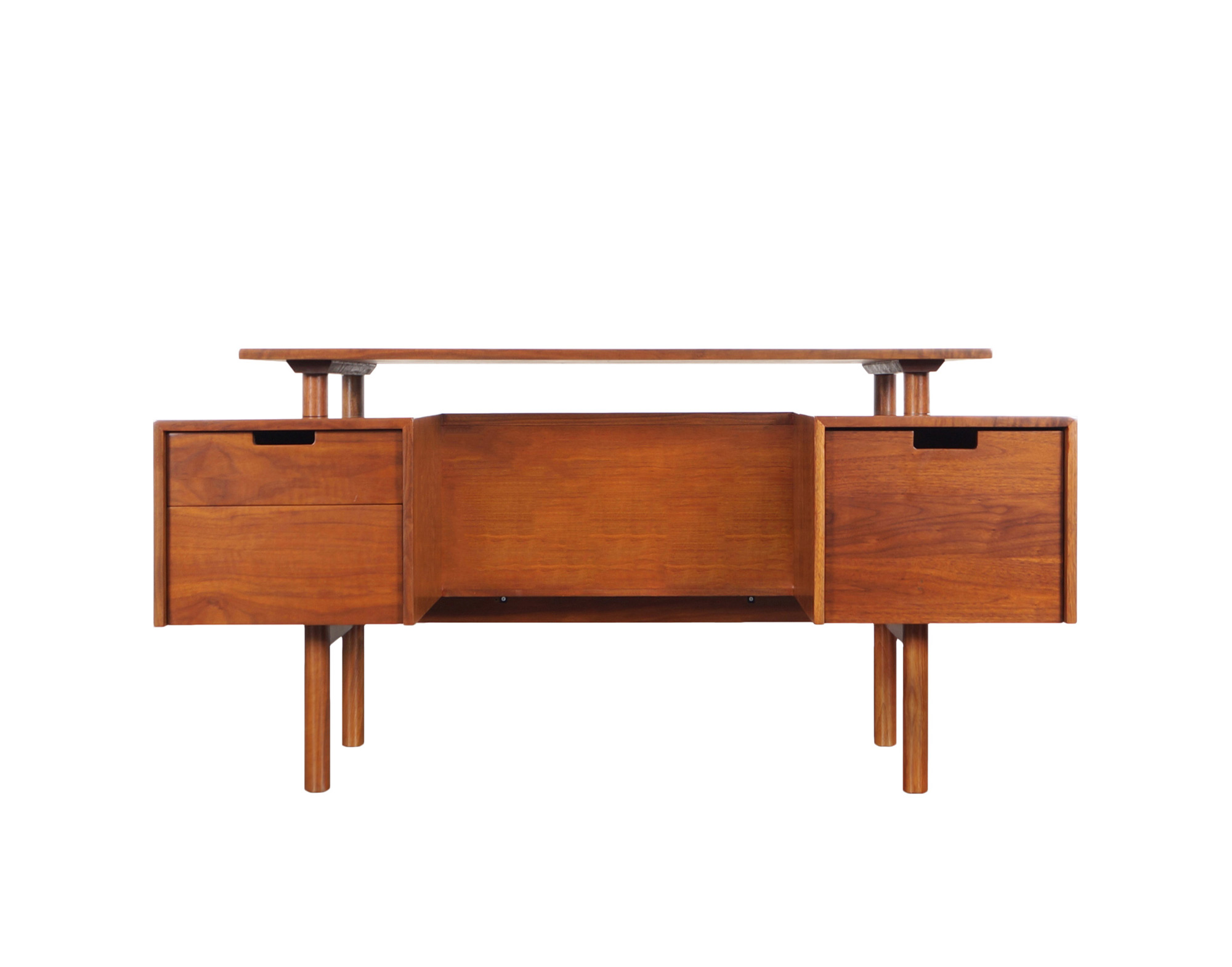 Early Floating Top Walnut Desk by Milo Baughman