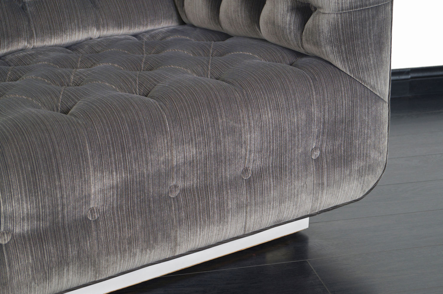 Vintage Tufted Chrome Sofa by George Kasparian