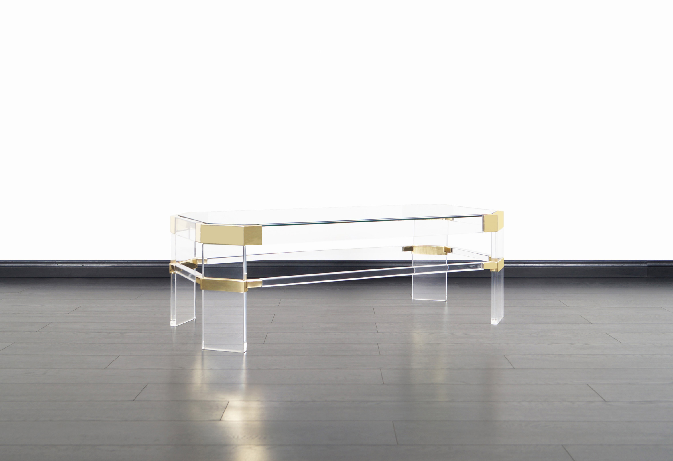Vintage Brass and Lucite Metric Line Coffee Table by Charles Hollis Jones