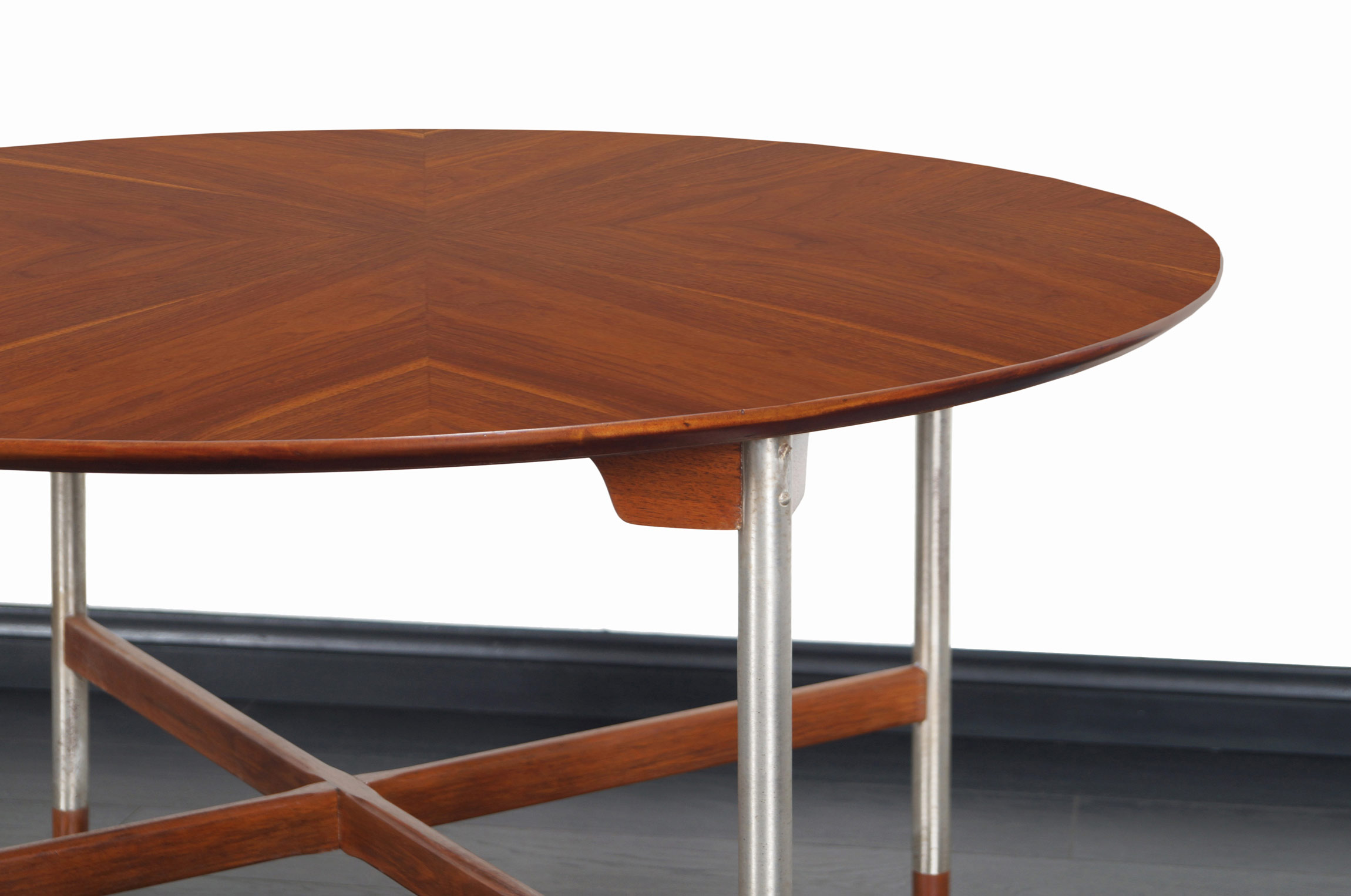 Danish Walnut and Brushed Steel Table Attributed to Arne Vodder