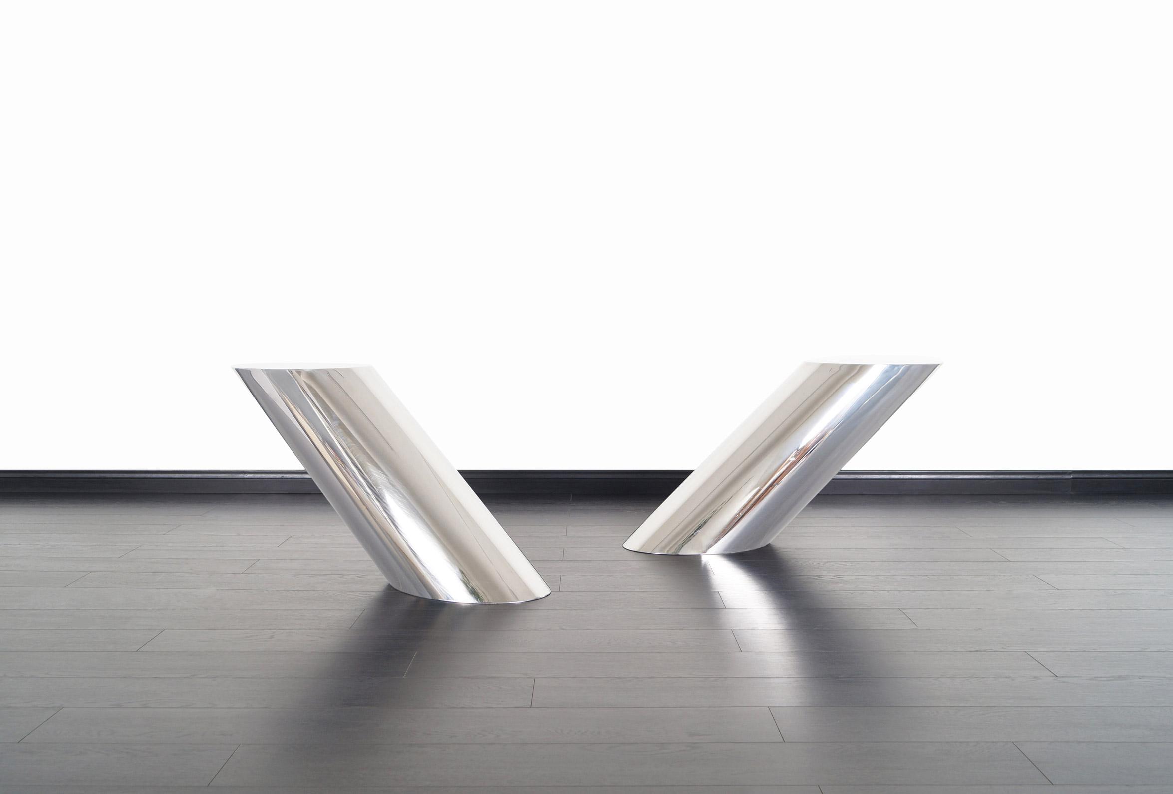 Brueton Polished Steel Zephyr Table by J. Wade Beam