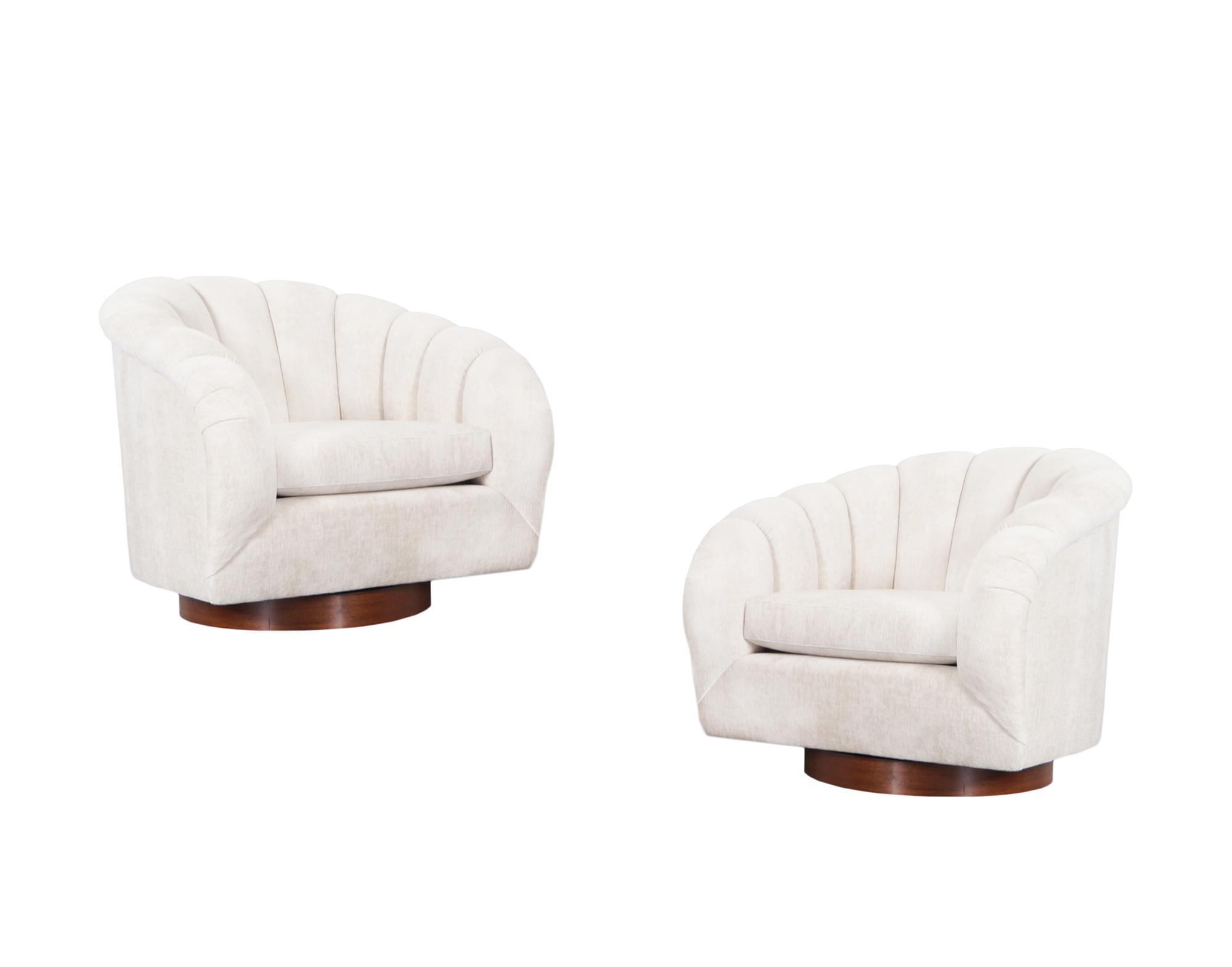 Vintage Walnut Channel Back Swivel Lounge Chairs by Milo Baughman