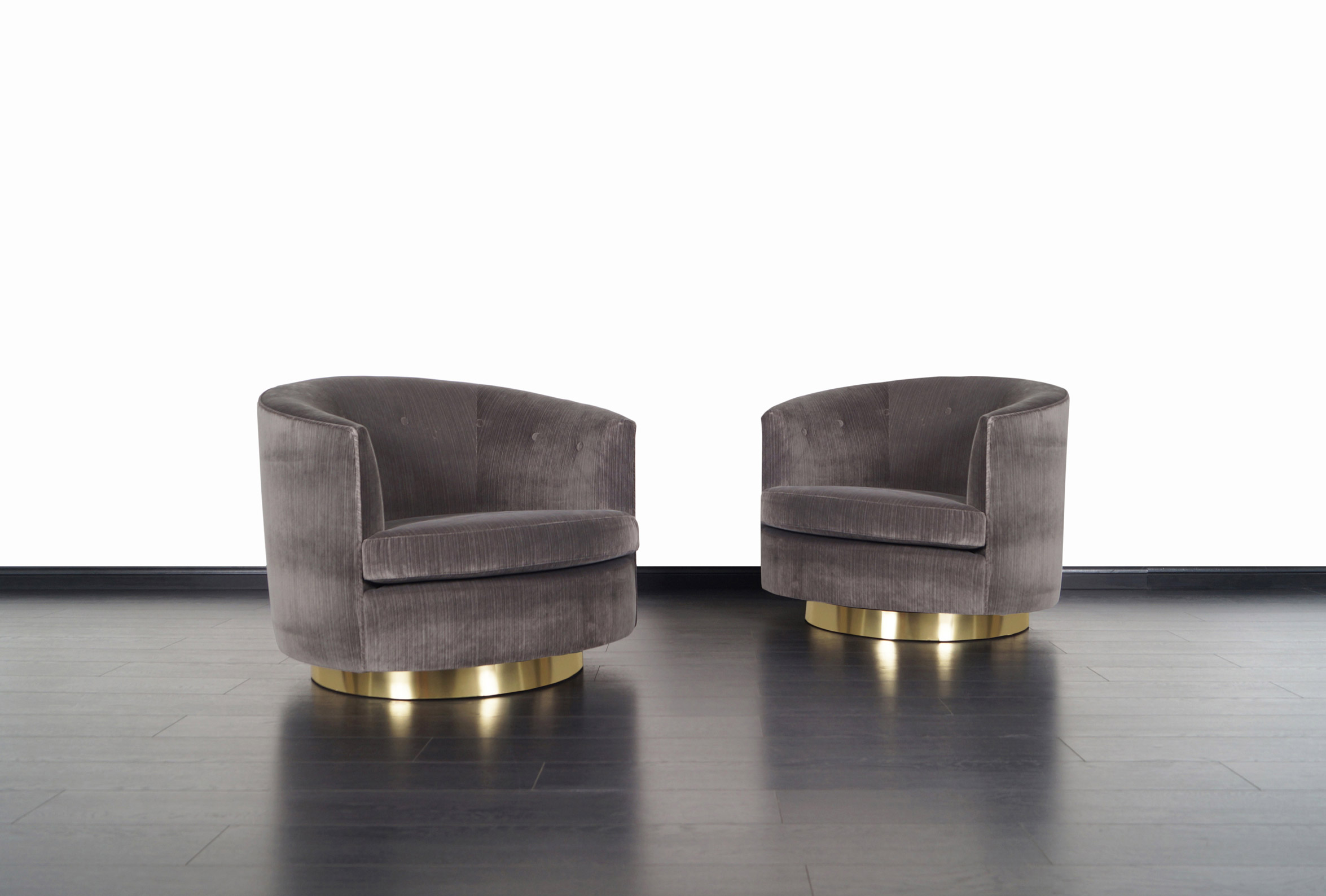 Vintage Brass Swivel Lounge Chairs by Milo Baughman