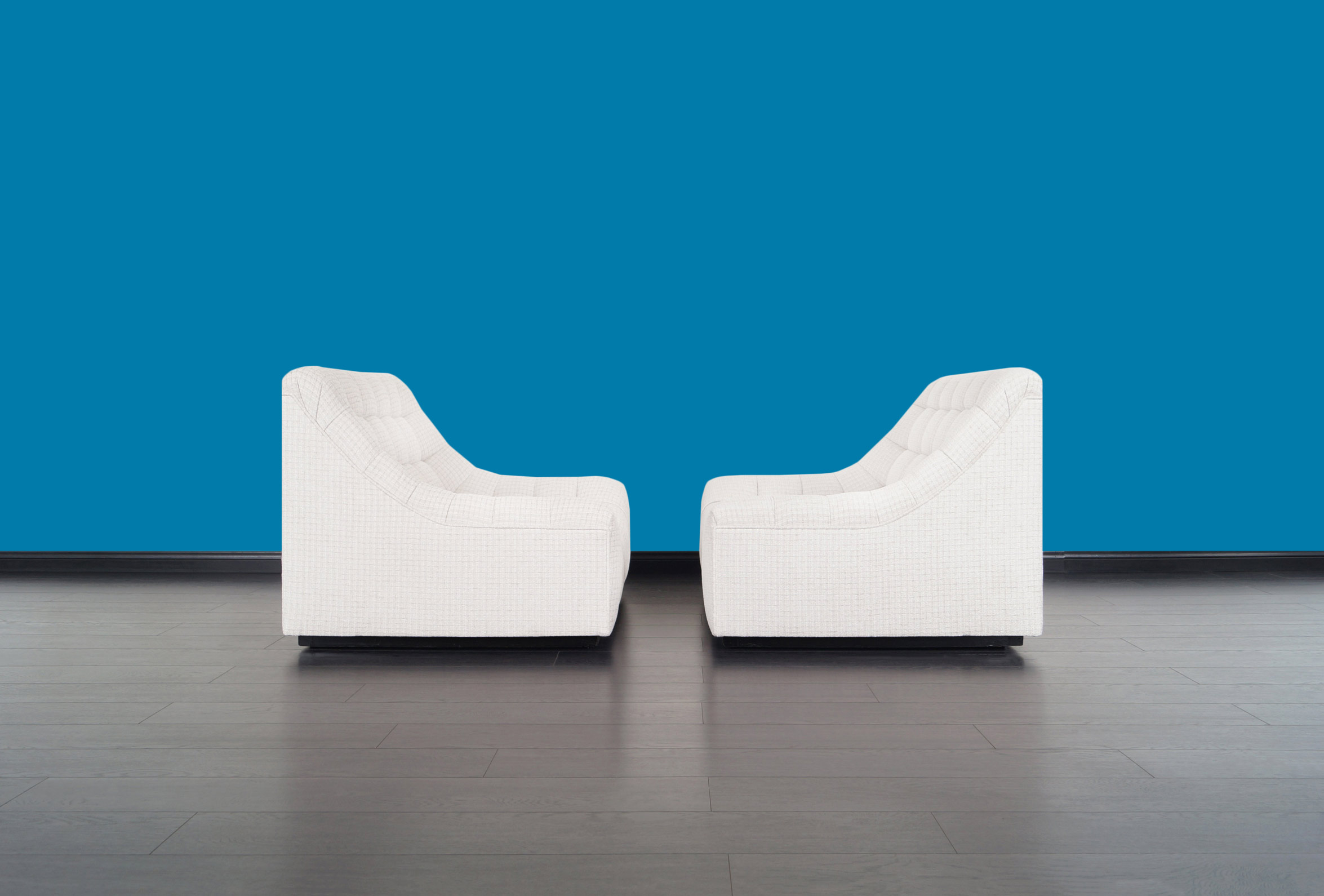 Vintage Deep Biscuit Tufted Lounge Chairs Attributed to Milo Baughman