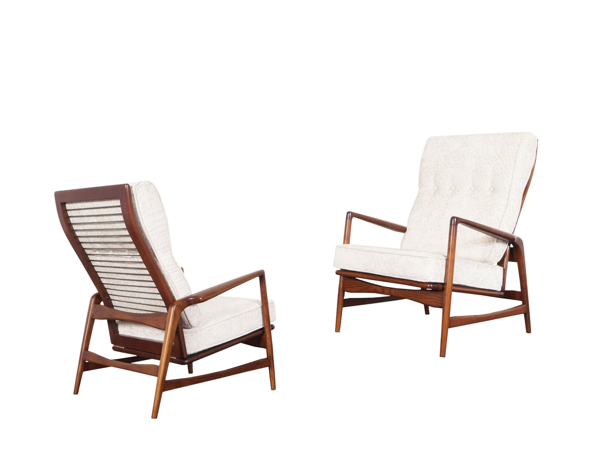 Danish Modern Walnut Reclining Lounge Chairs by Ib Kofod Larsen