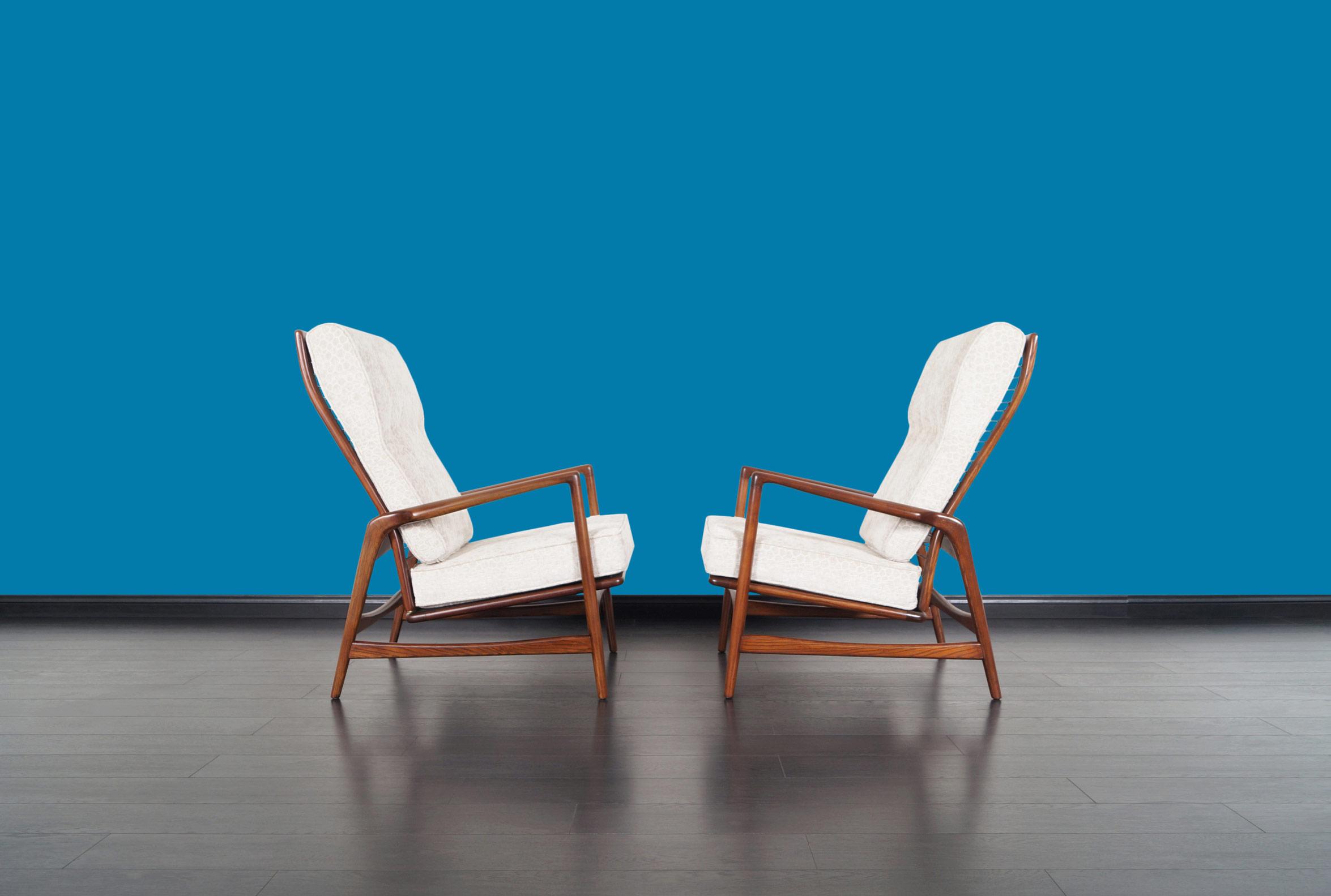 Danish Modern Walnut Reclining Lounge Chairs by Ib Kofod Larsen