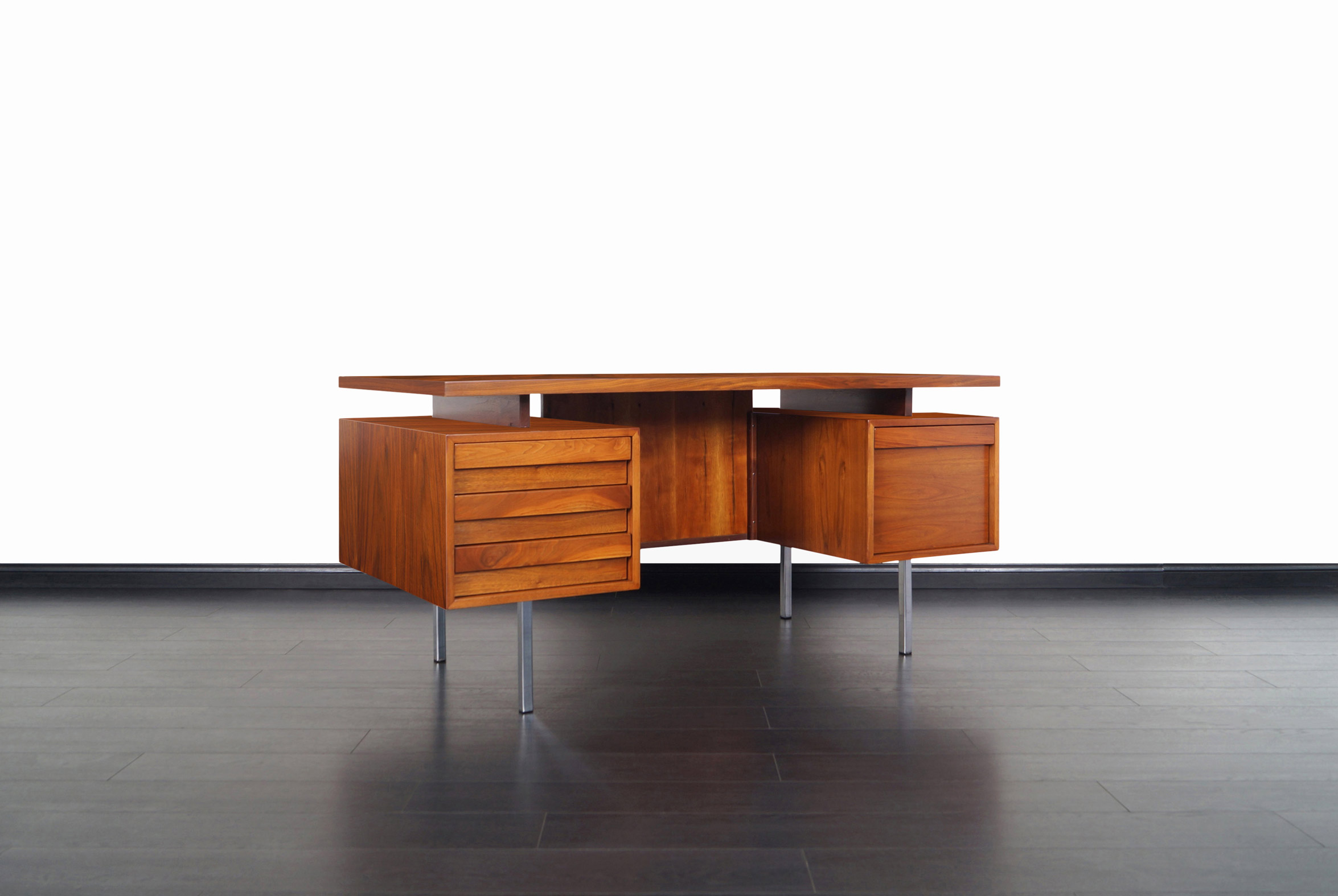 Vintage Executive Walnut and Chrome Desk by John Keal