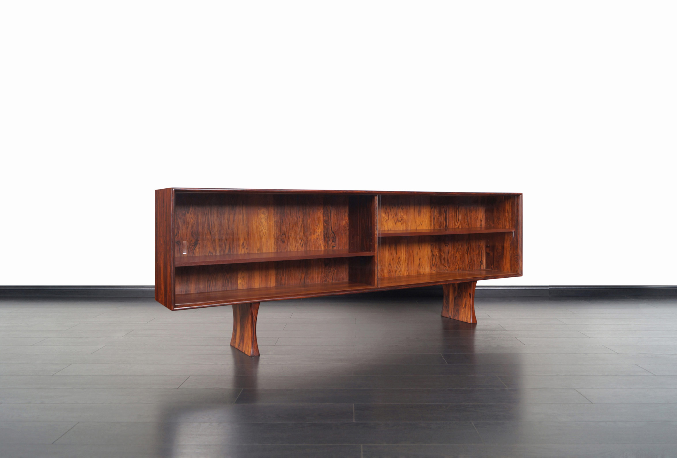 Danish Low Profile Rosewood Bookcase by Bernhard Pederson