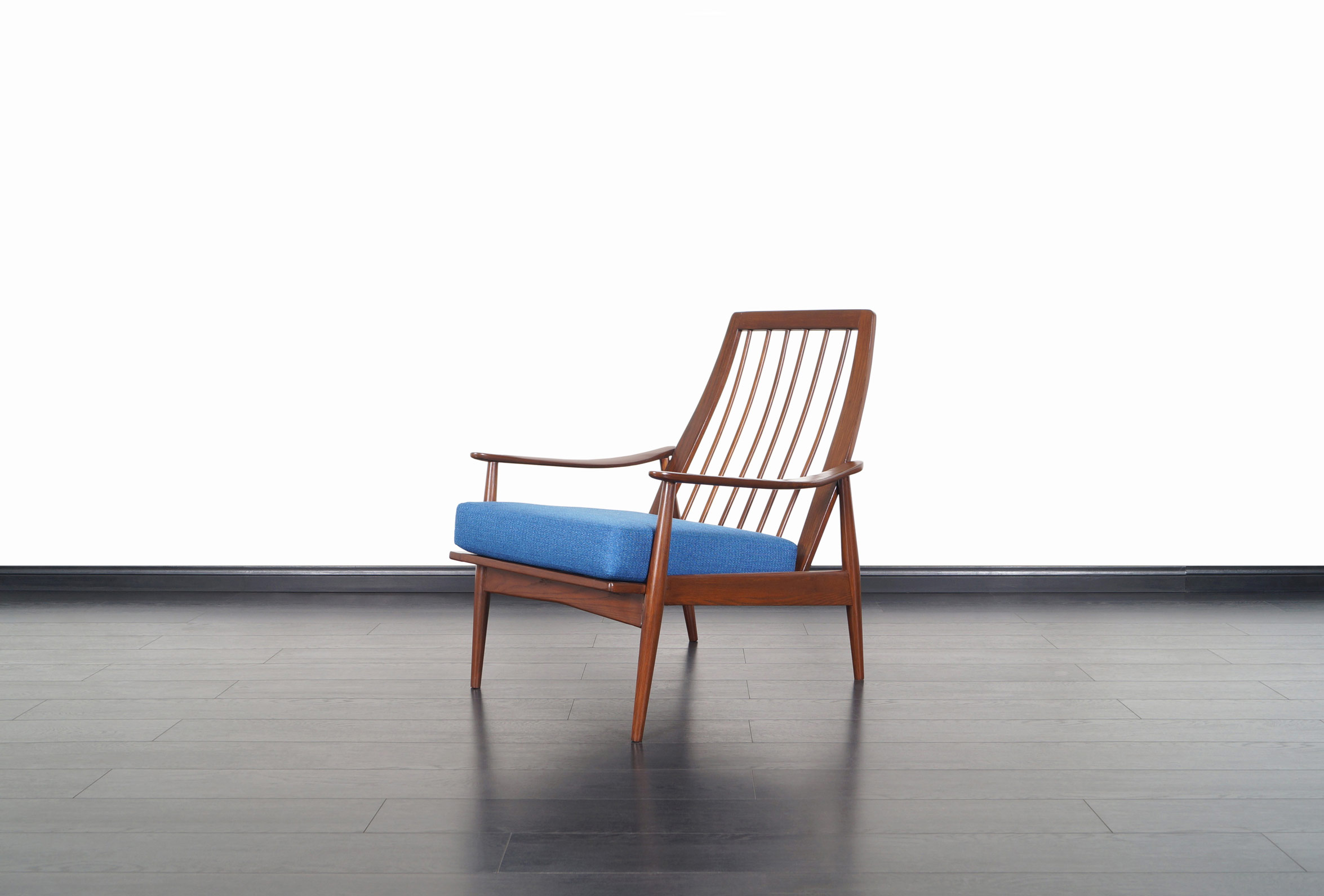 Mid Century Modern Walnut High Back Lounge Chair