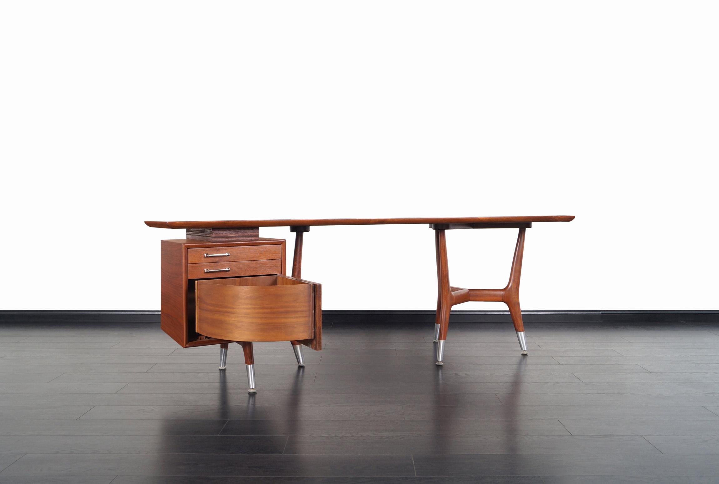 Italian Modernist Walnut Boomerang Desk