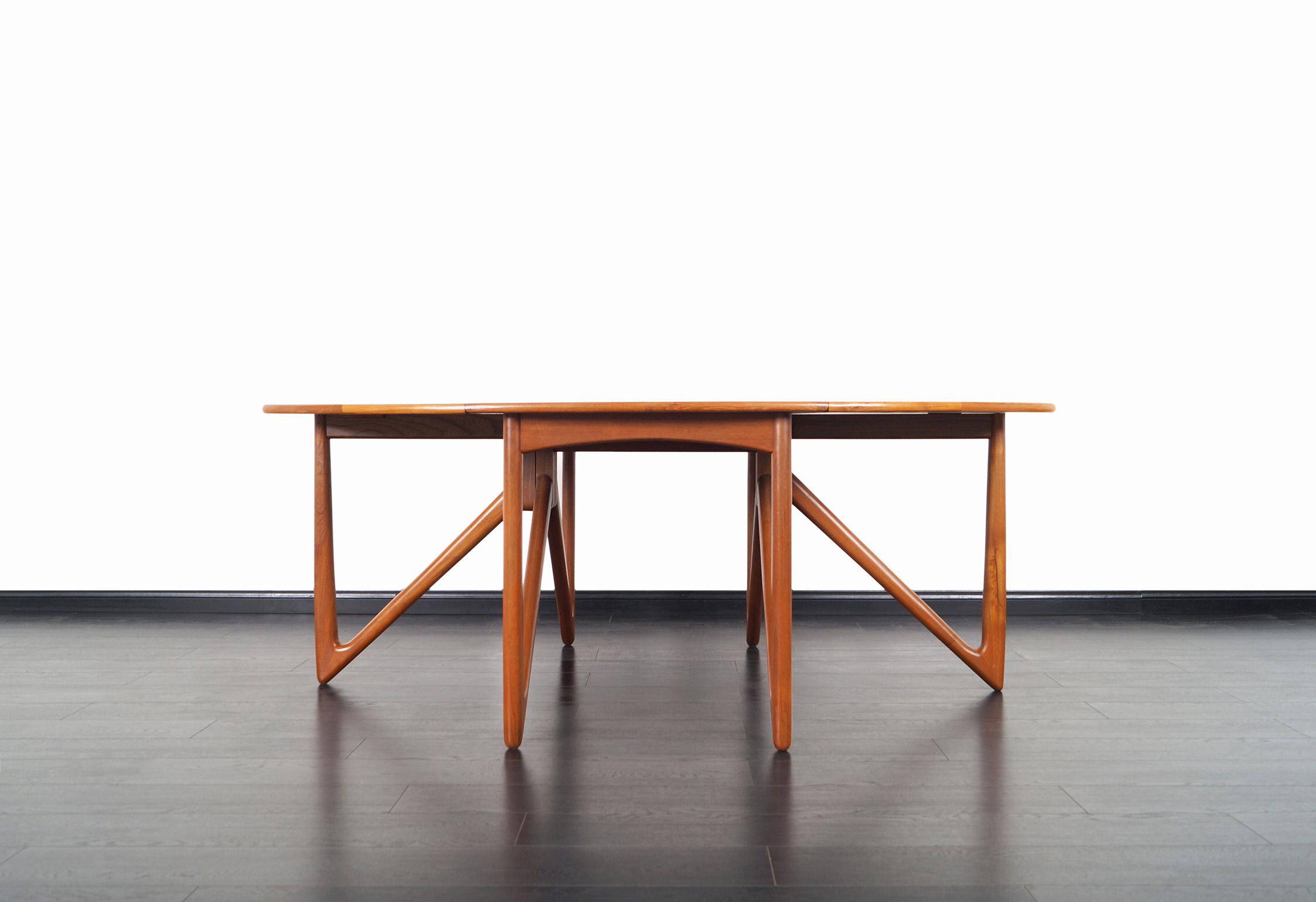 Danish Teak Gateleg Drop Leaf Dining Table by Niels Kofoed