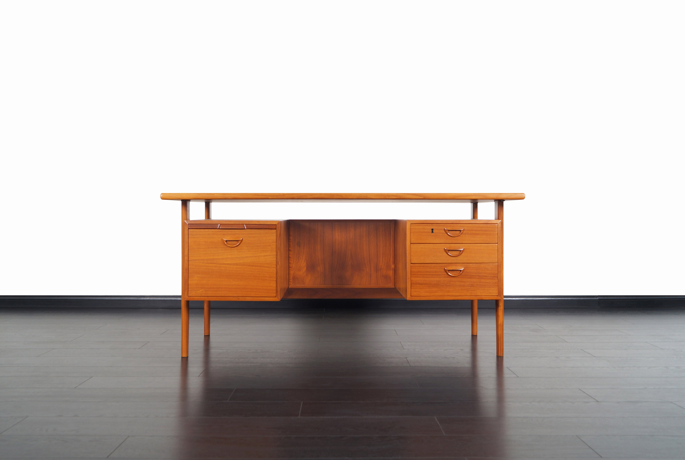 Danish Modern Floating Top Desk by Kai Kristiansen