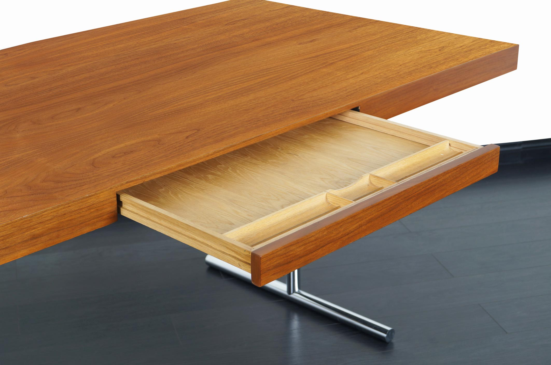 Mid Century Executive Walnut Omega Desk by Hans Eichenberger